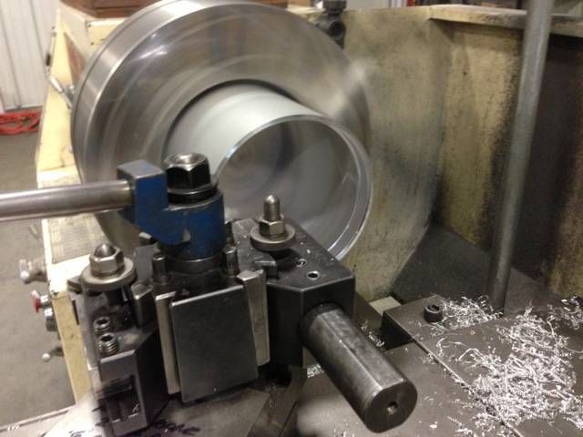 Exterior of column machined on lathe