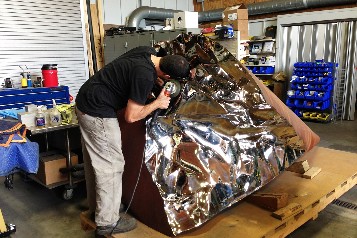 Final stainless surface being polished