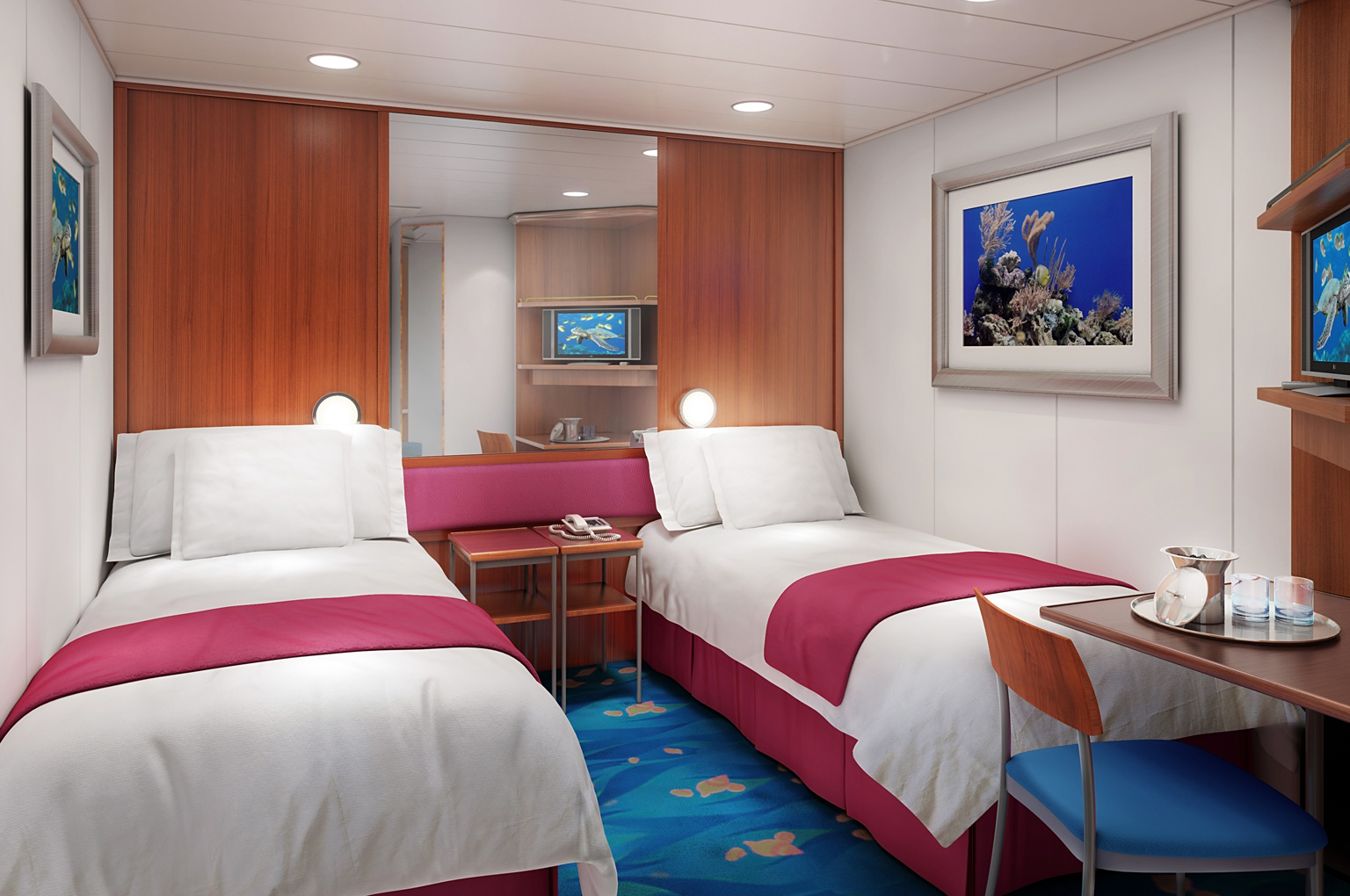 Inside Stateroom* - Includes all meals, open bar, entertainment, taxes and port fees. Pricing is PER PERSON, based on DOUBLE OCCUPANCY (Single Room Option are available).  (Single Room Option are available). The beds could be either two twins or king. If you would like more than 2 people in a room, contact us for a custom room quote.