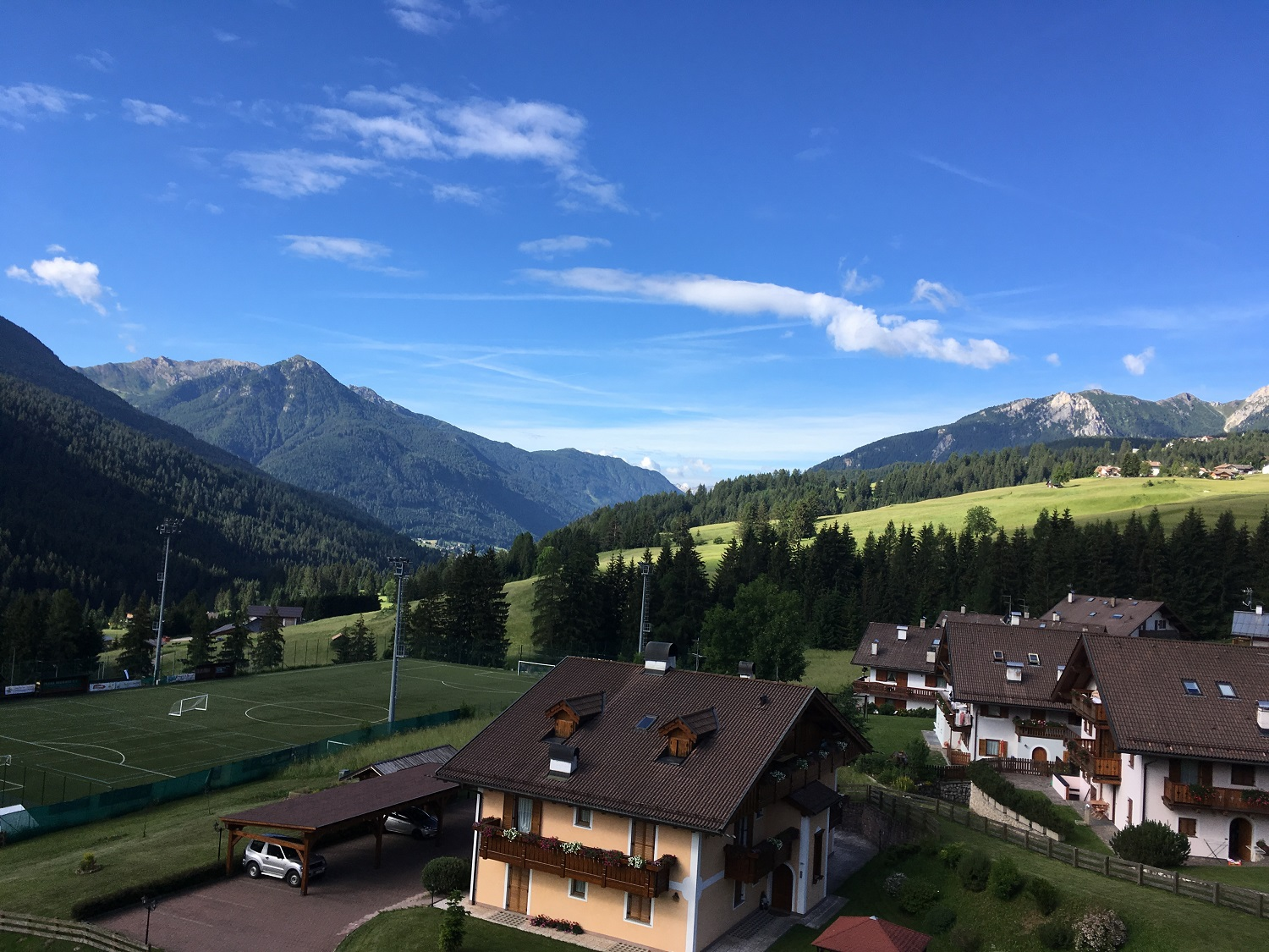View from the Hotel, Great Circle Route, Dolomites Walks