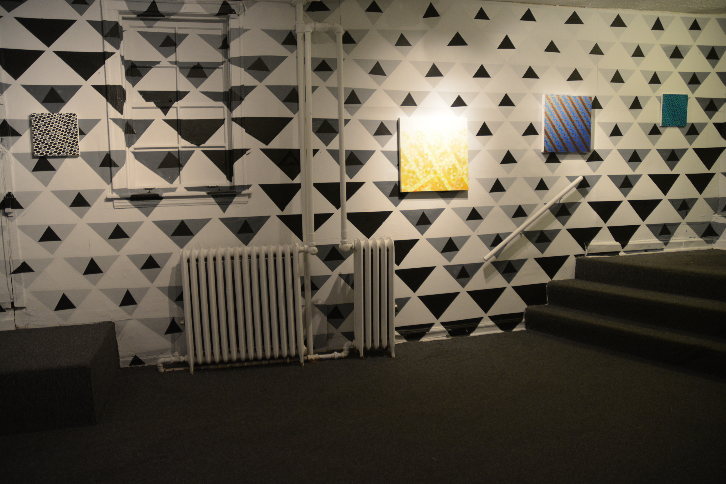 Installation View #55, #70, #69, #57 on site specific wall painting