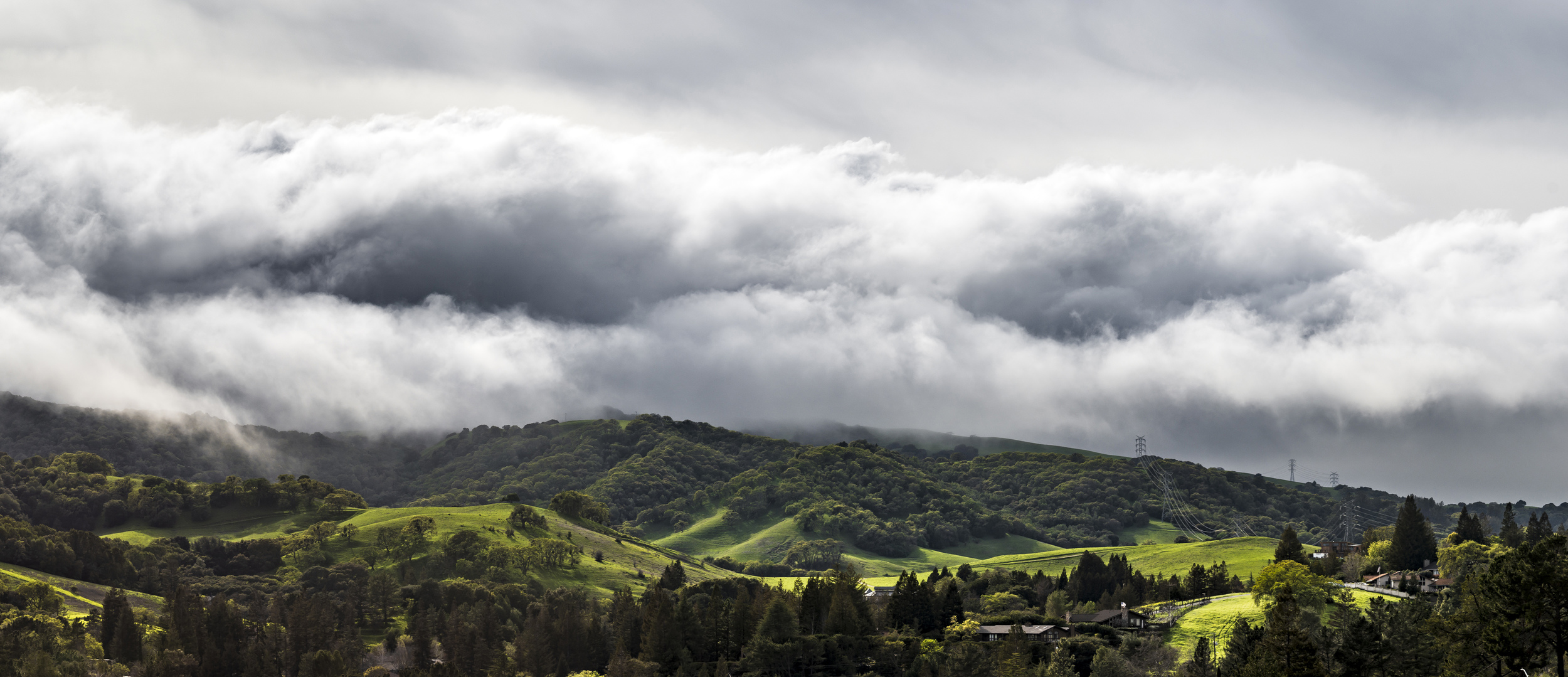 Tumultuous clouds flow over the hills of Briones Regional Park as a large storm approaches the East Bay