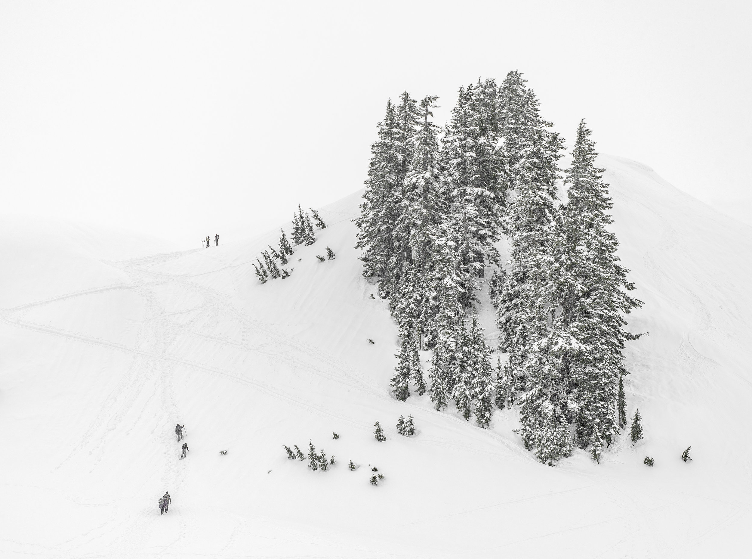 Snowshoers climb a ridge in whiteout conditions on the way to Artist Point, Mount Baker Ski Area, WA