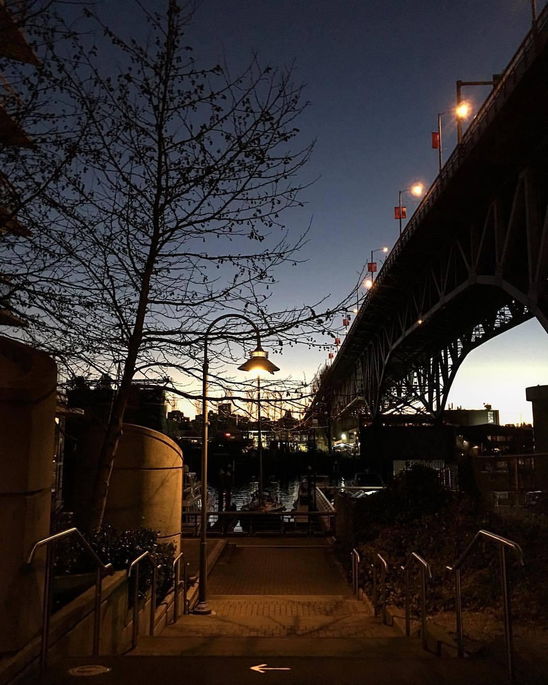 To the left. (at Granville Street Bridge)