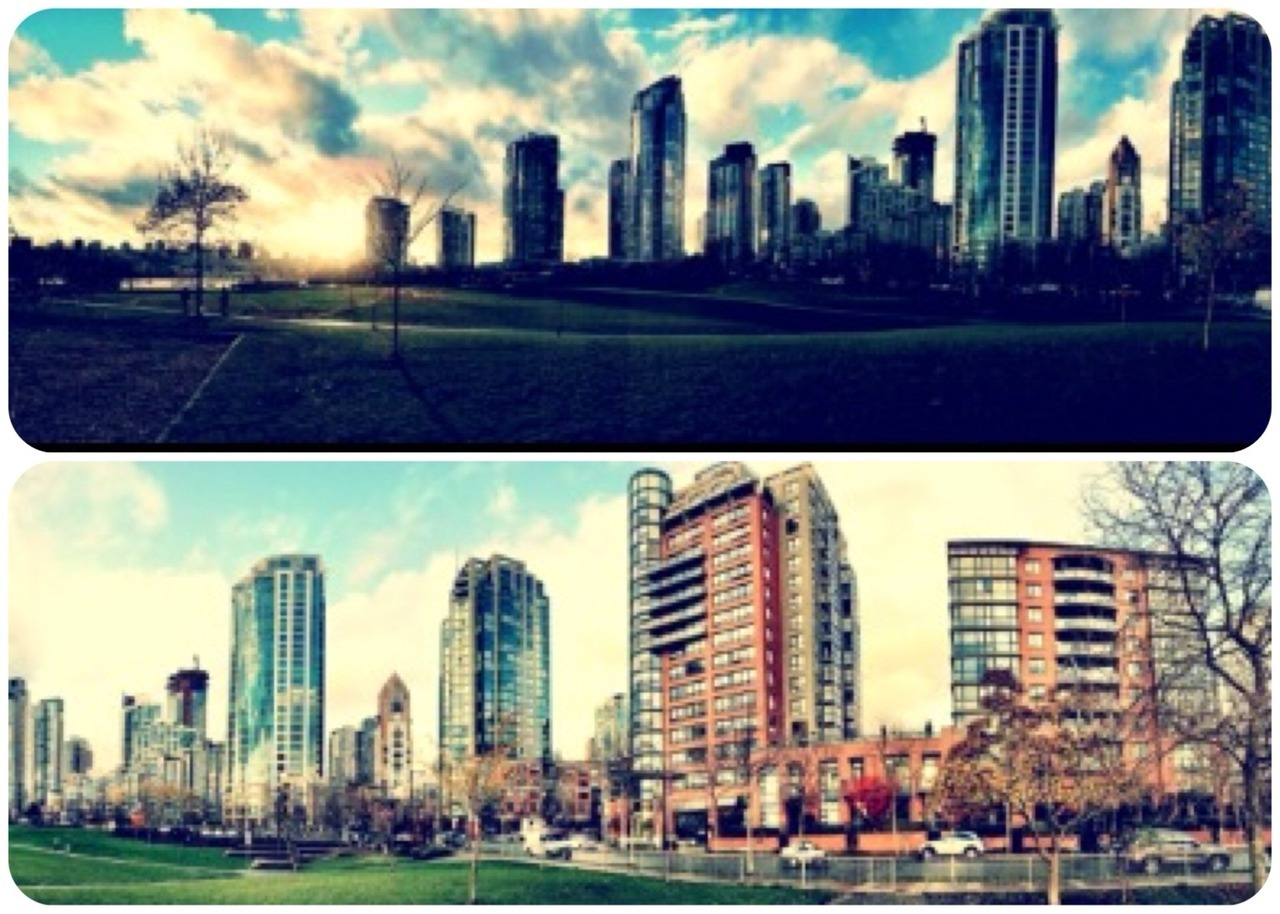 Another pretty day in VanCity! at David Lam Park – View on  Path .