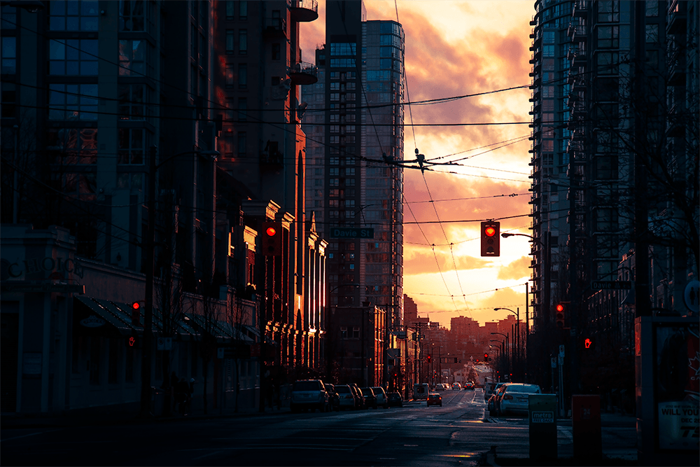 vancouver, canada \\ red sky night