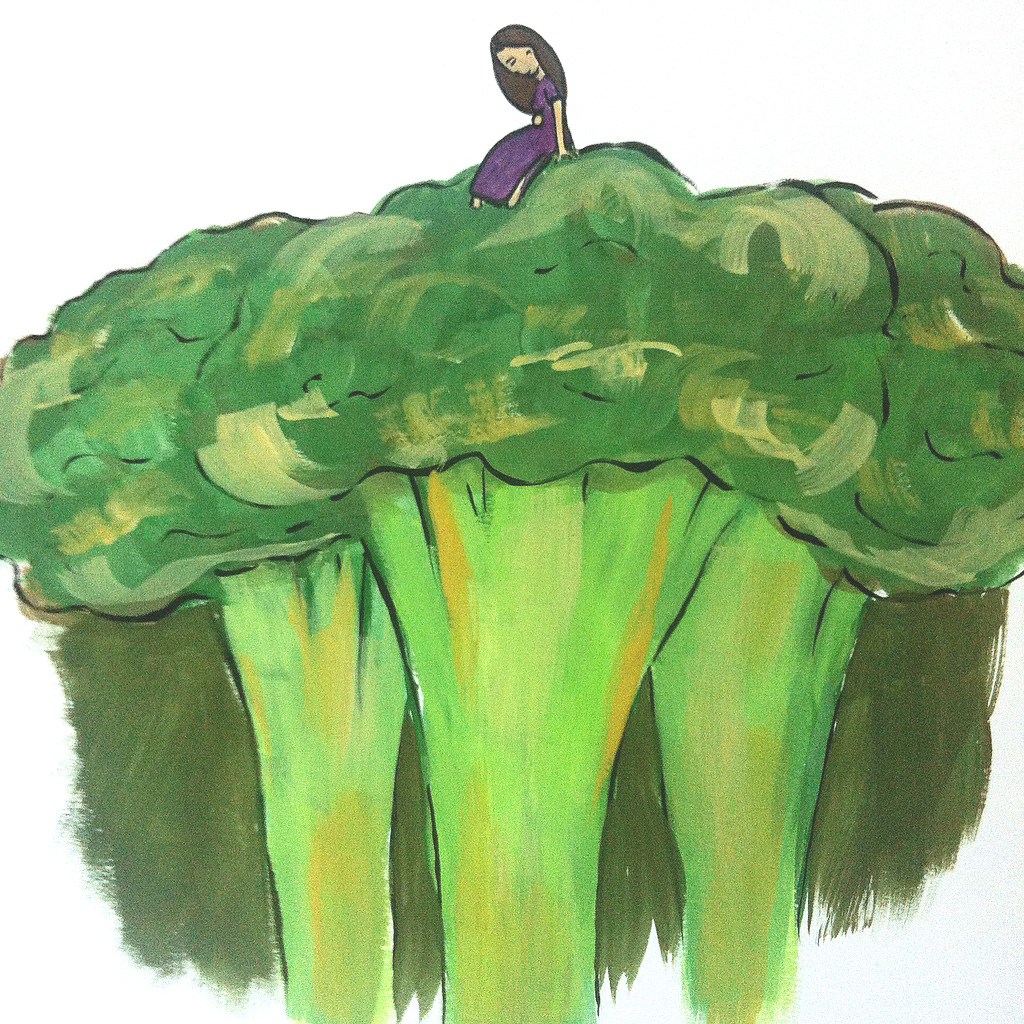 Enchanted Broccoli Forest, an ode to Mollie Katzen, Gouache and graphite, 2015.