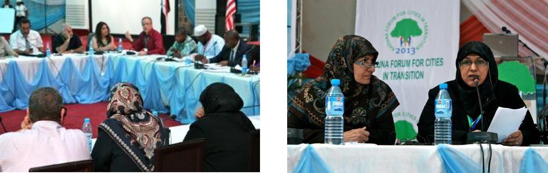 Quintin Oliver chairs panel discussion Baghdad delegates: Nawal al-Araji and Taghreed al-Shammar