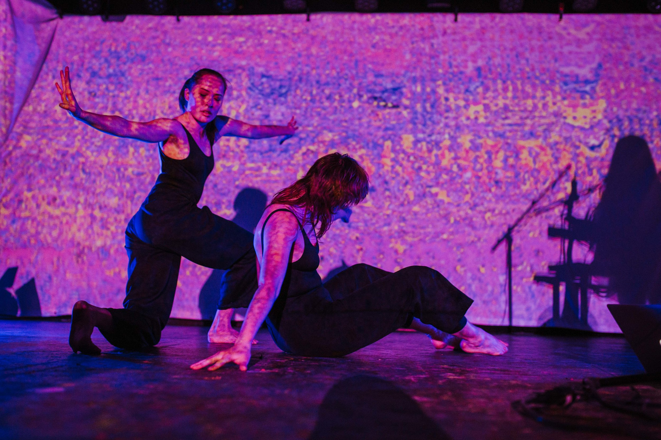 RAYANNAH - With Dancers Jillian Groening and Emily Solstice. Projections by Stephanie Kuse, lights by Miguel Fortier. Part of Jazz Winnipeg's NuSound Series. Photos by Travis Ross.