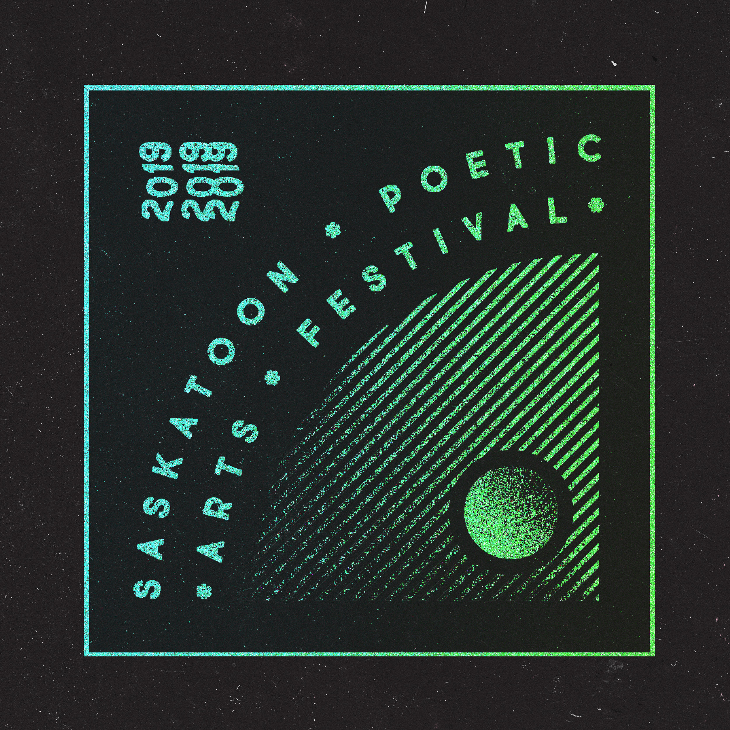 Logo design for the Saskatoon Poetic Arts Festival 2019.