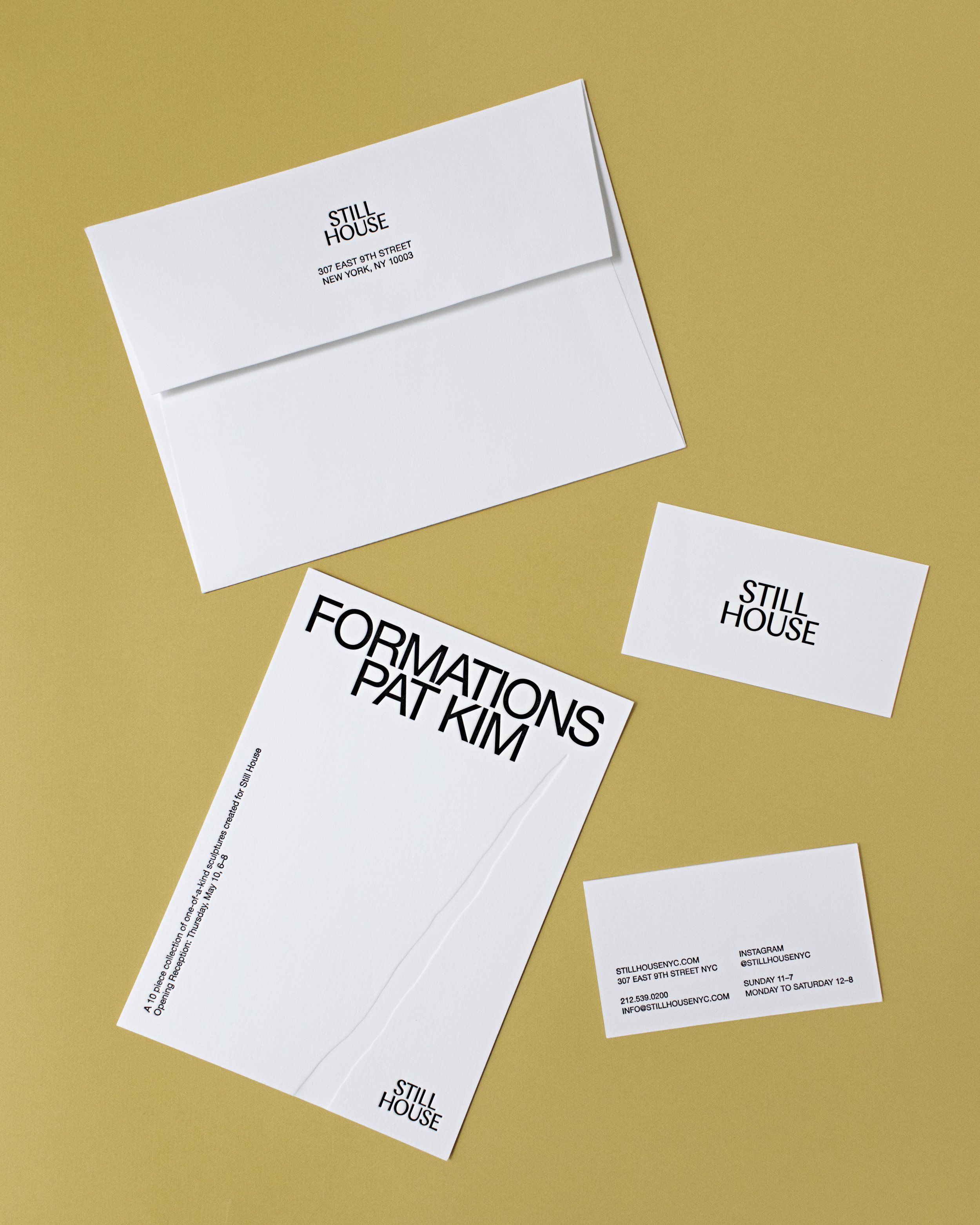 Stationery used to promote an exhibit of sculptures by Pat Kim, art direction by Urte Tylaite