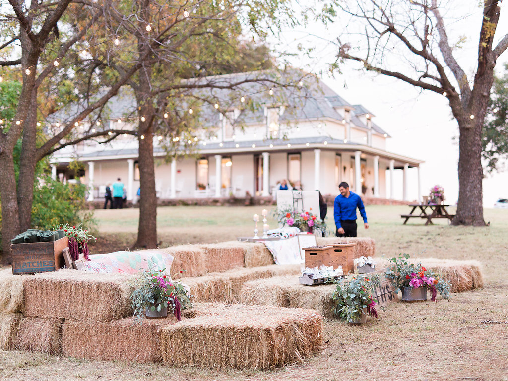 Our hay bales made for a perfect place for guests to sit in between dancing the night away!