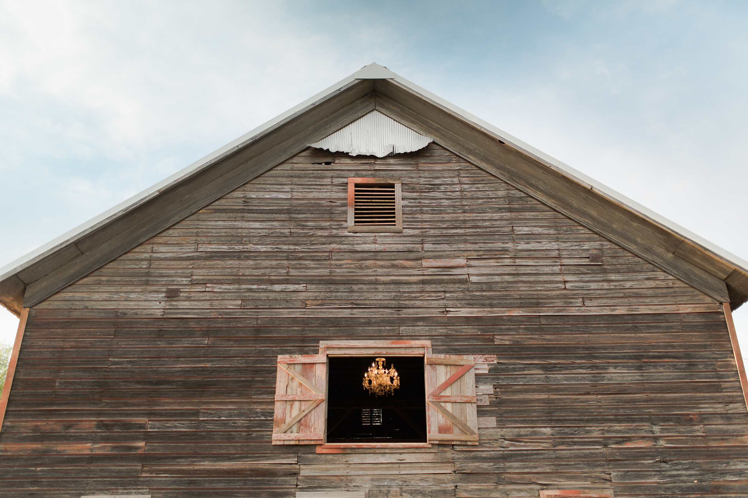 You can even see our new chandelier from the front window of the barn!