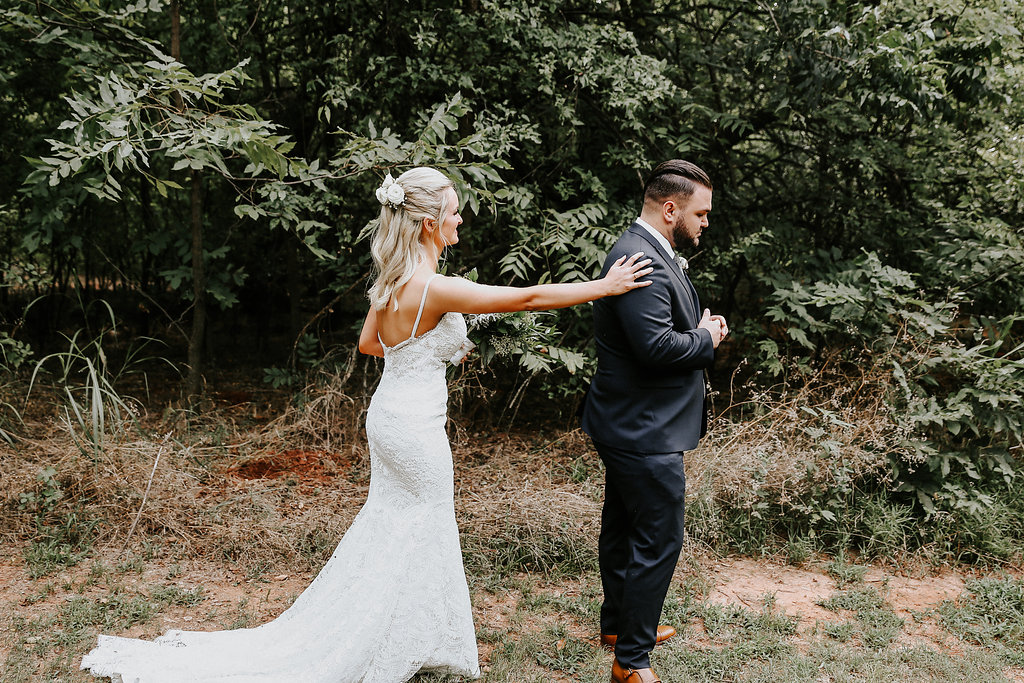 Our lush wooded surroundings made this couple's 'first look' pictures absolutely amazing-