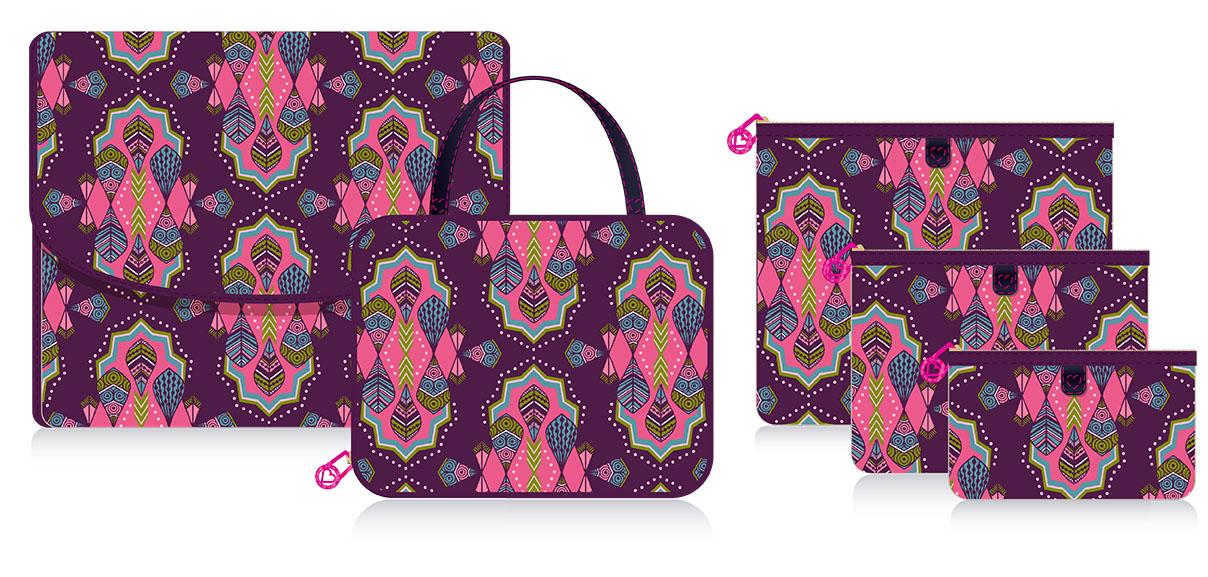 Hand-drawn Tribal print for Hard Candy makeup bags