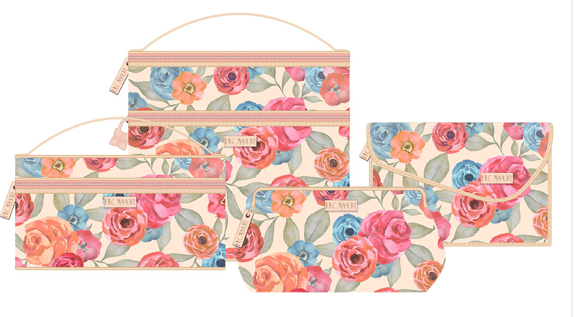 Hand-painted watercolor print for Drew Barrymore's Flower makeup bags