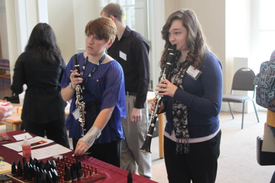 Students trying out new mouthpieces