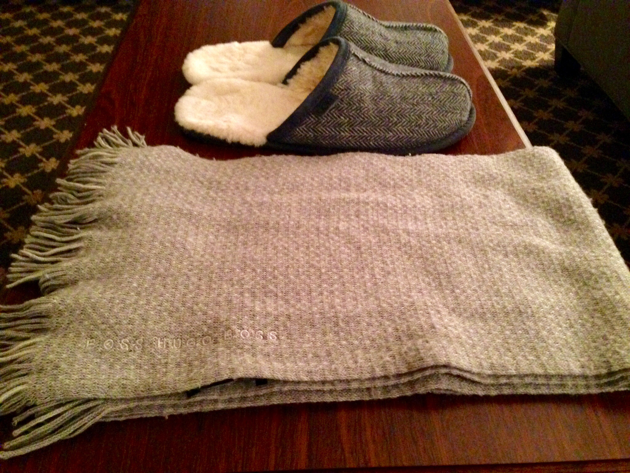 A scarf and UGG's wool sleepers keep me warm as the weather begins to cool down.