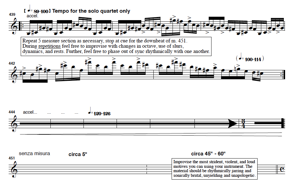 This section in the third movement asks all players to play as loud and high as possible!
