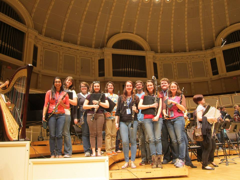 TTU Symphony Band clarinet section on stage at Chicago Symphony Center