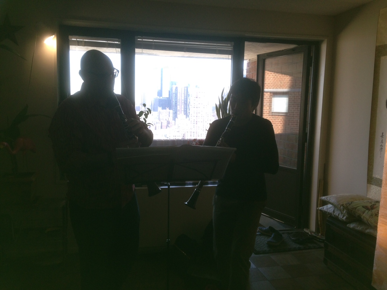 Playing some duets at Tom's apartment at the Manhattan Plaza!