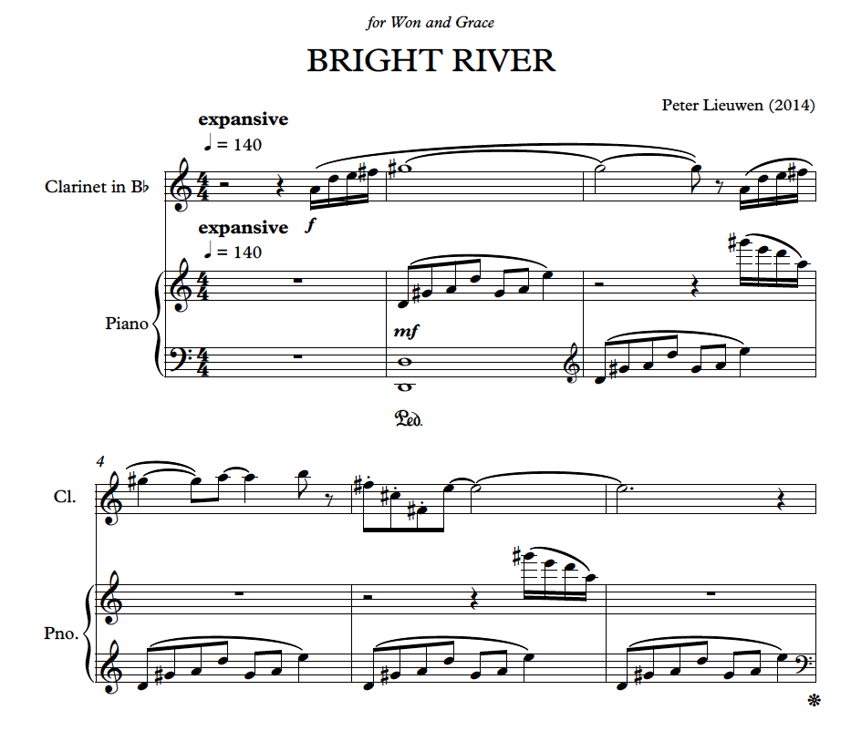 Peter Lieuwen's  Bright River  (2014) written for me and Grace will receive its world premiere on July 21st at Lyceum Chamber Music Series in Alexandria, VA. The work will also be performed at ICA's ClarinetFest in Madrid, Spain later in July.