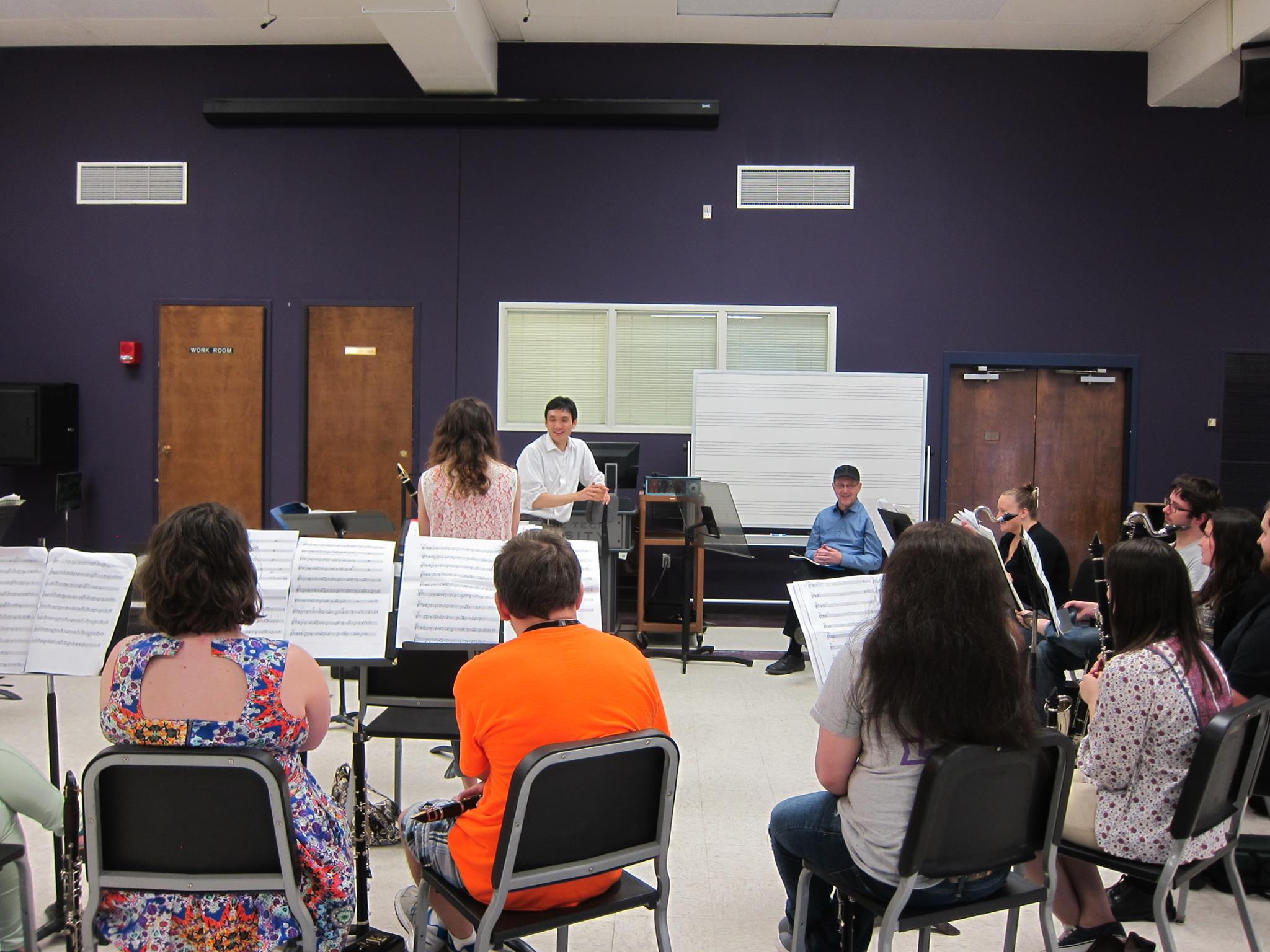 Dr. Kim rehearsing TTU Clarinet Ensemble with Steve Reich