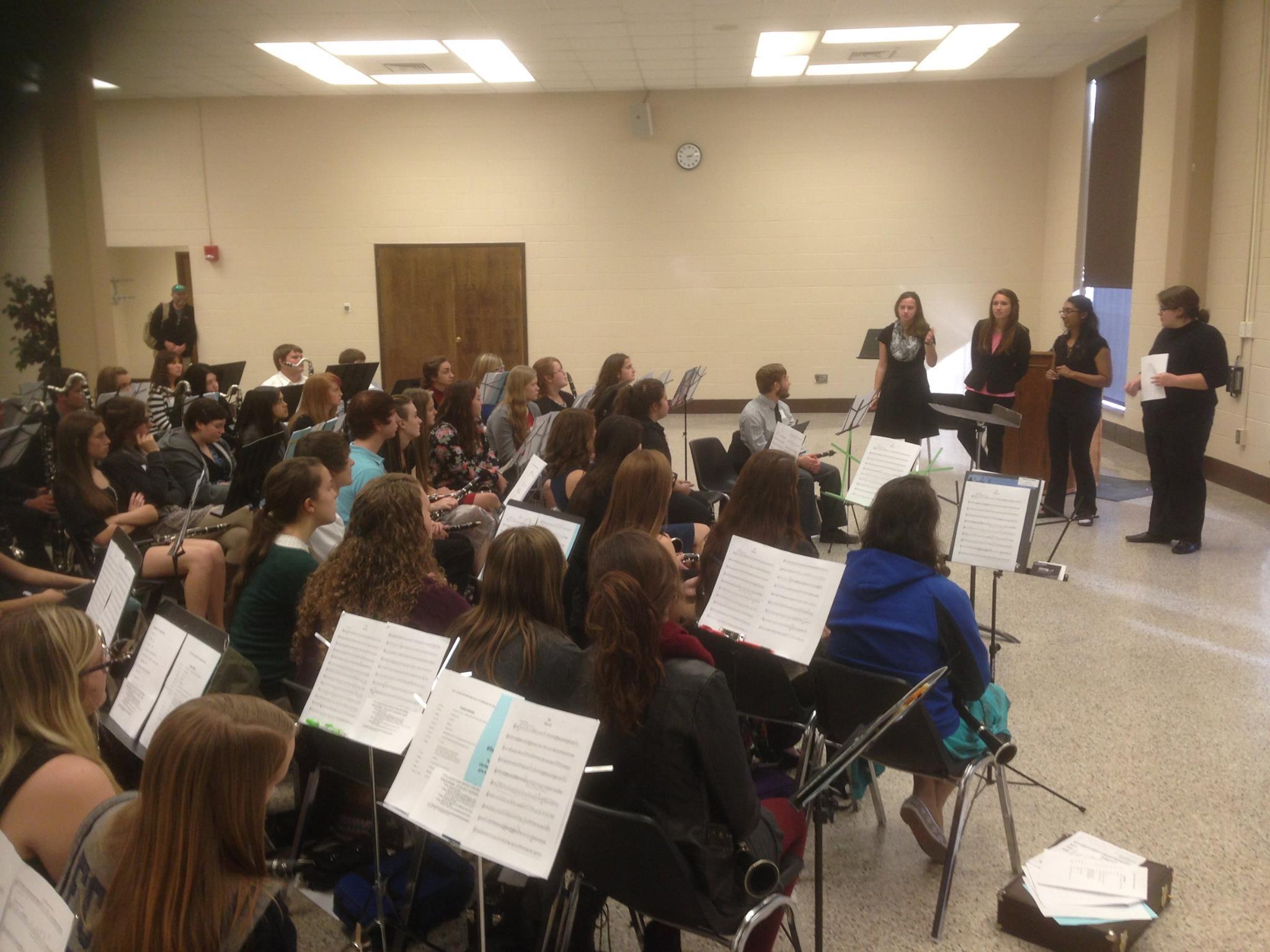 Senior clarinet students telling HS participants their wonderful Tech experiences