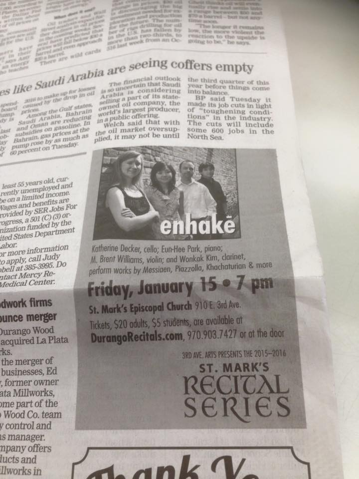 enhake at St. Mark's Recital Series