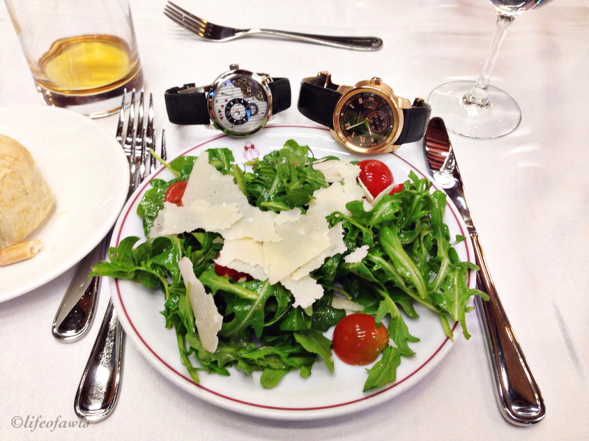 Salad with a side of Glashutte Original and Cartier..