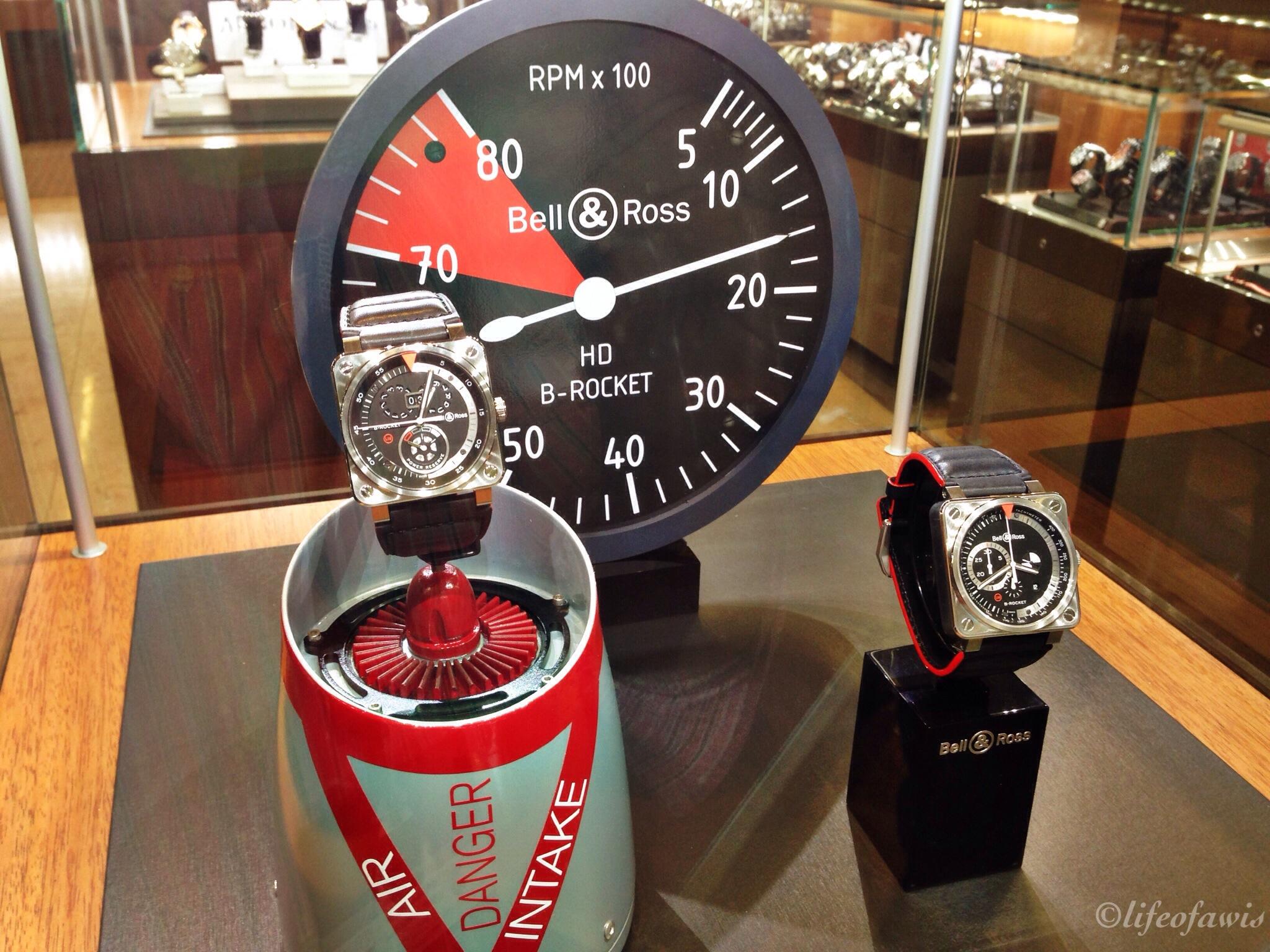 The B-Rocket watches on display at Feldmar Watch Company.