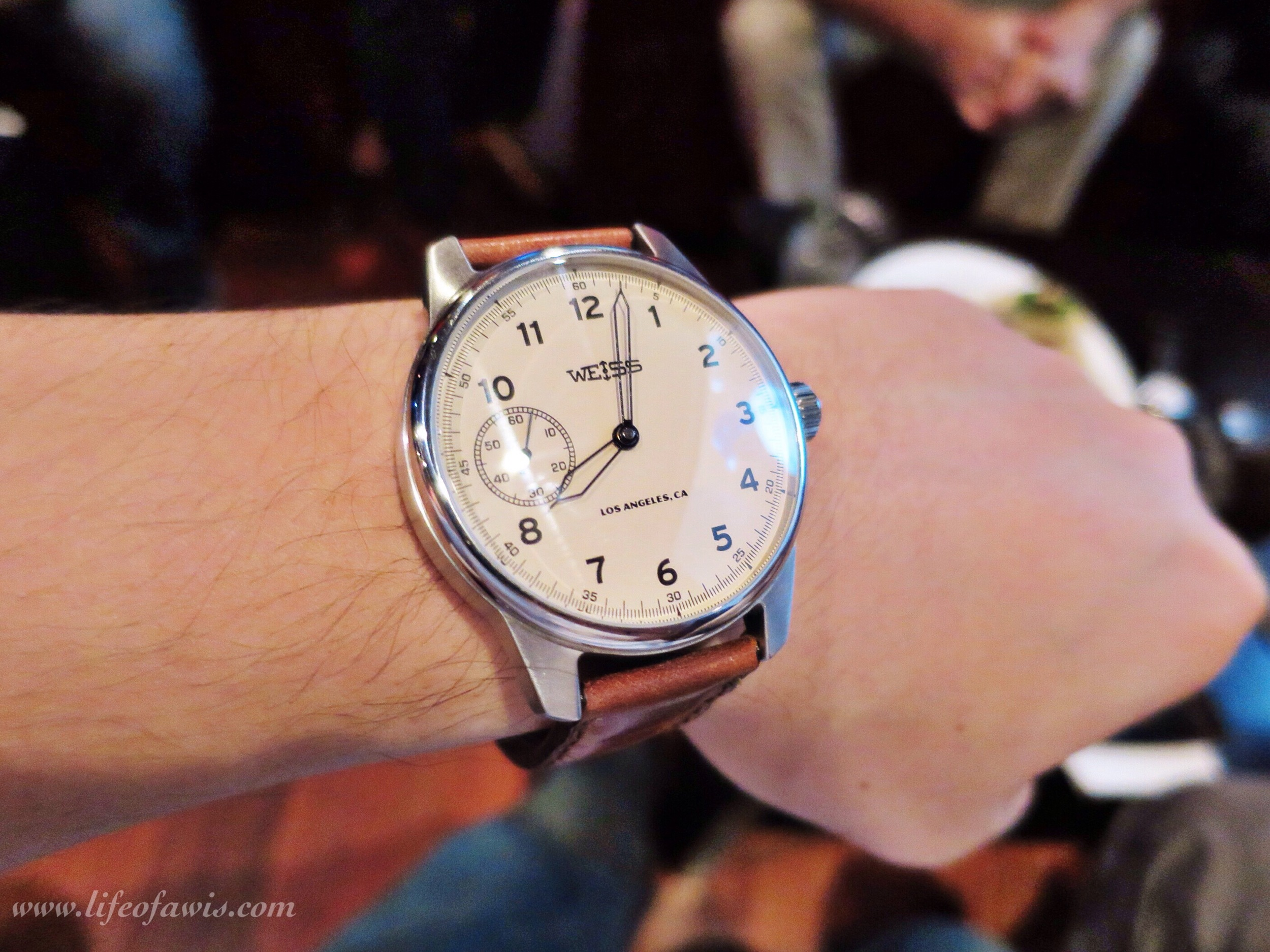 weiss-watch-latte-dial-wristshot