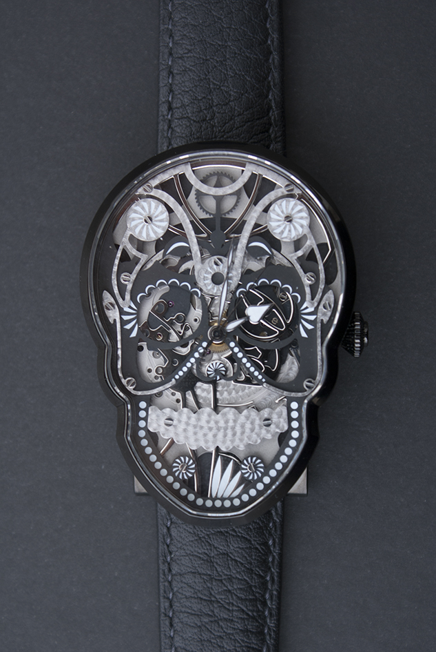 The Black Skull watch in PVD.