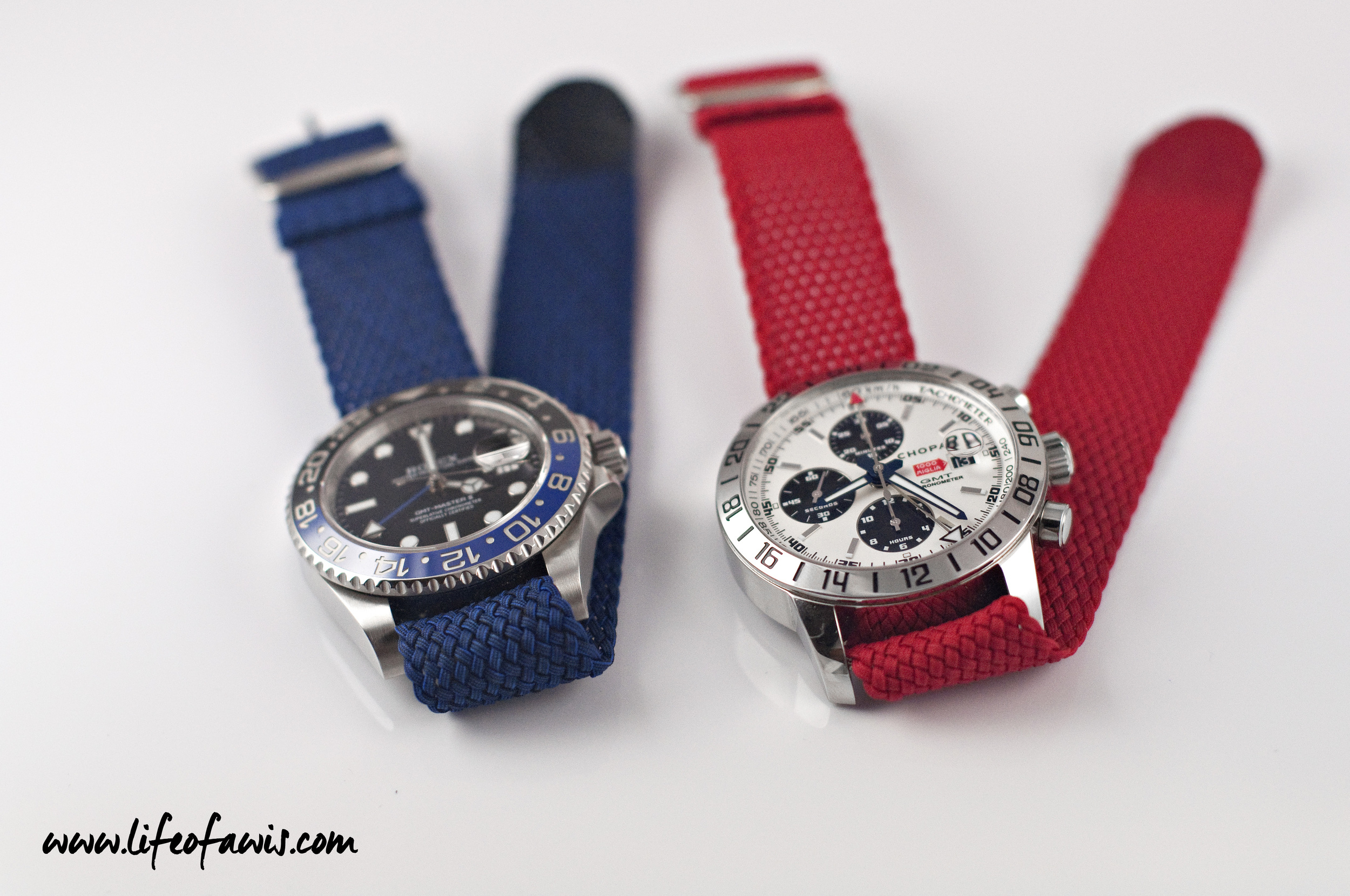 I must say that these two watches look quite nice with these perlon straps.