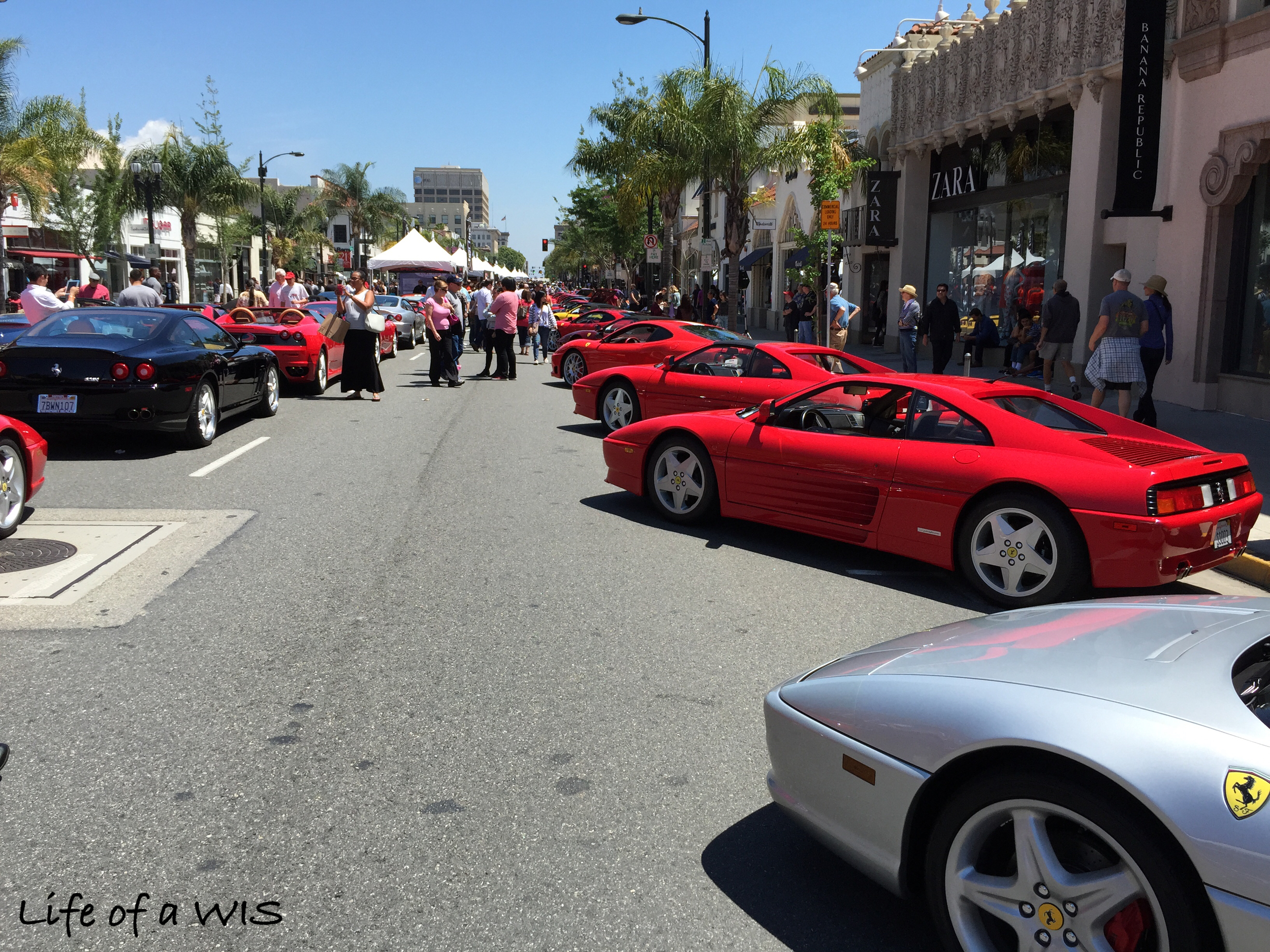Three blocks of Colorado Boulevard in Pasadena full of Ferraris.