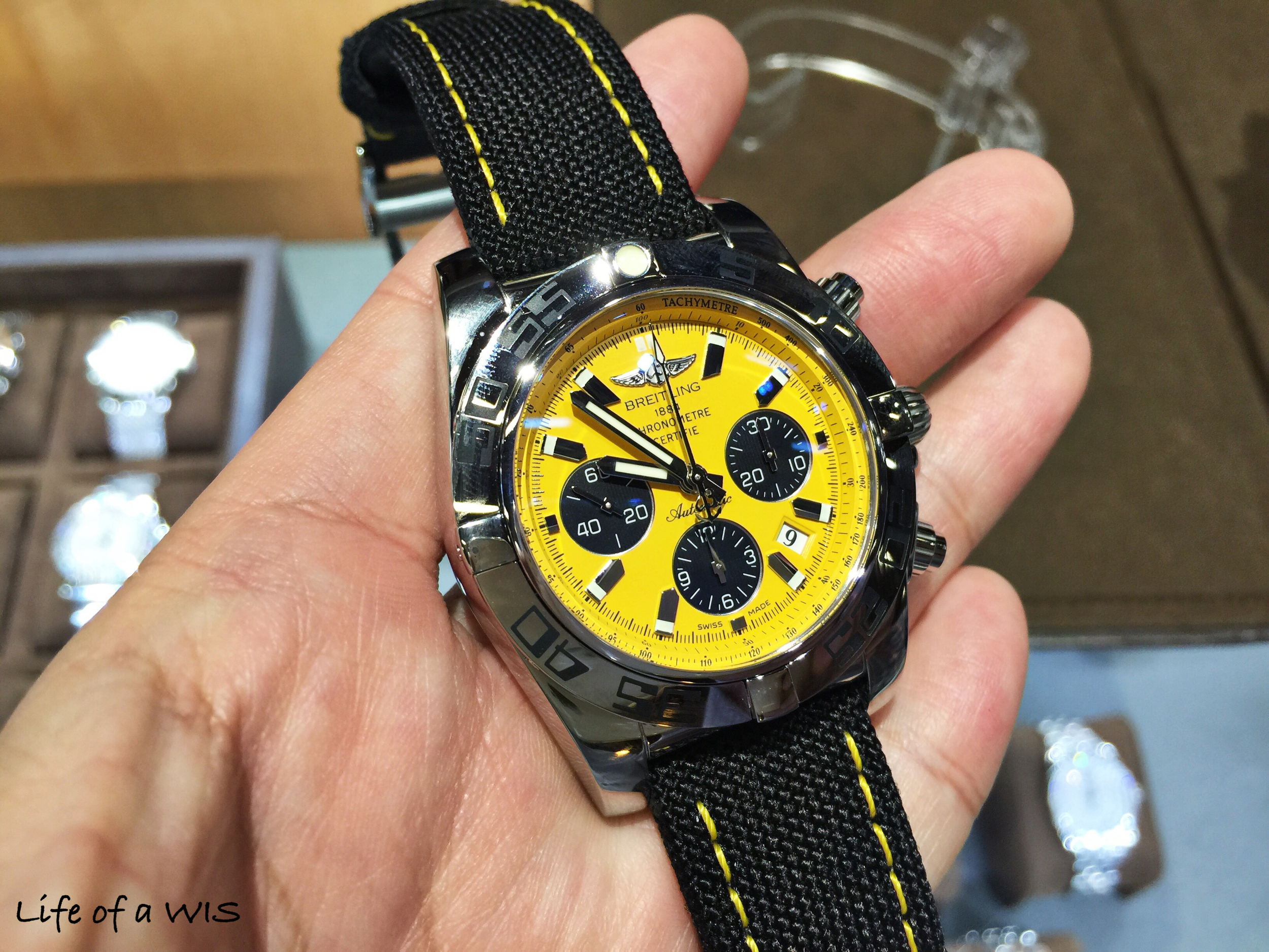 A colorful dial is always a treat. The yellow stitching on the strap is a nice touch.