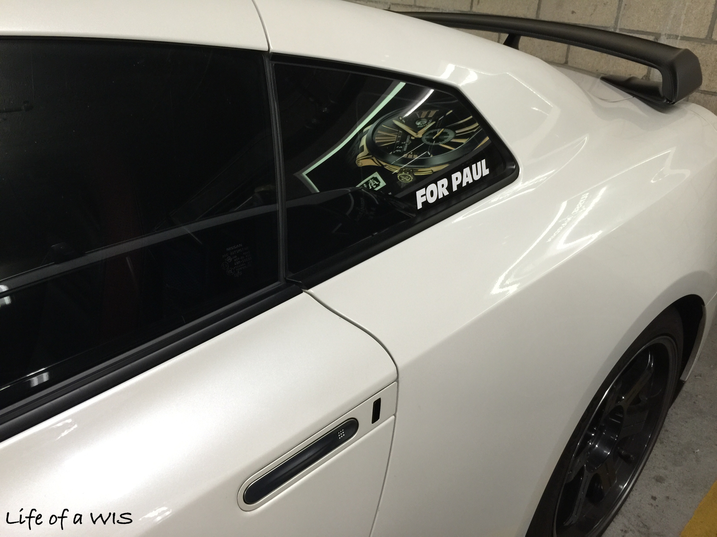 FOR PAUL decal on a GT-R, in memory of the late Paul Walker.