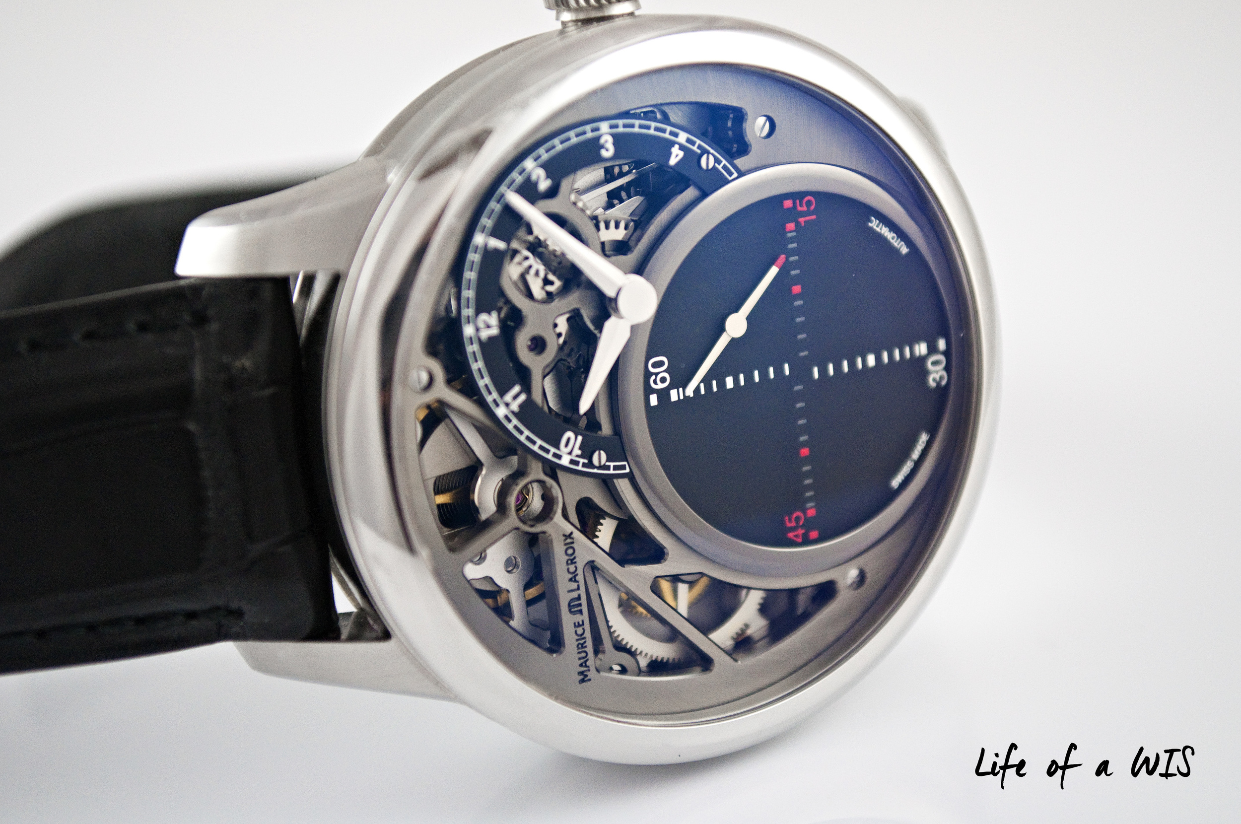 Though not the focal point on the watch, the partially skeletonized dial is just as stunning.