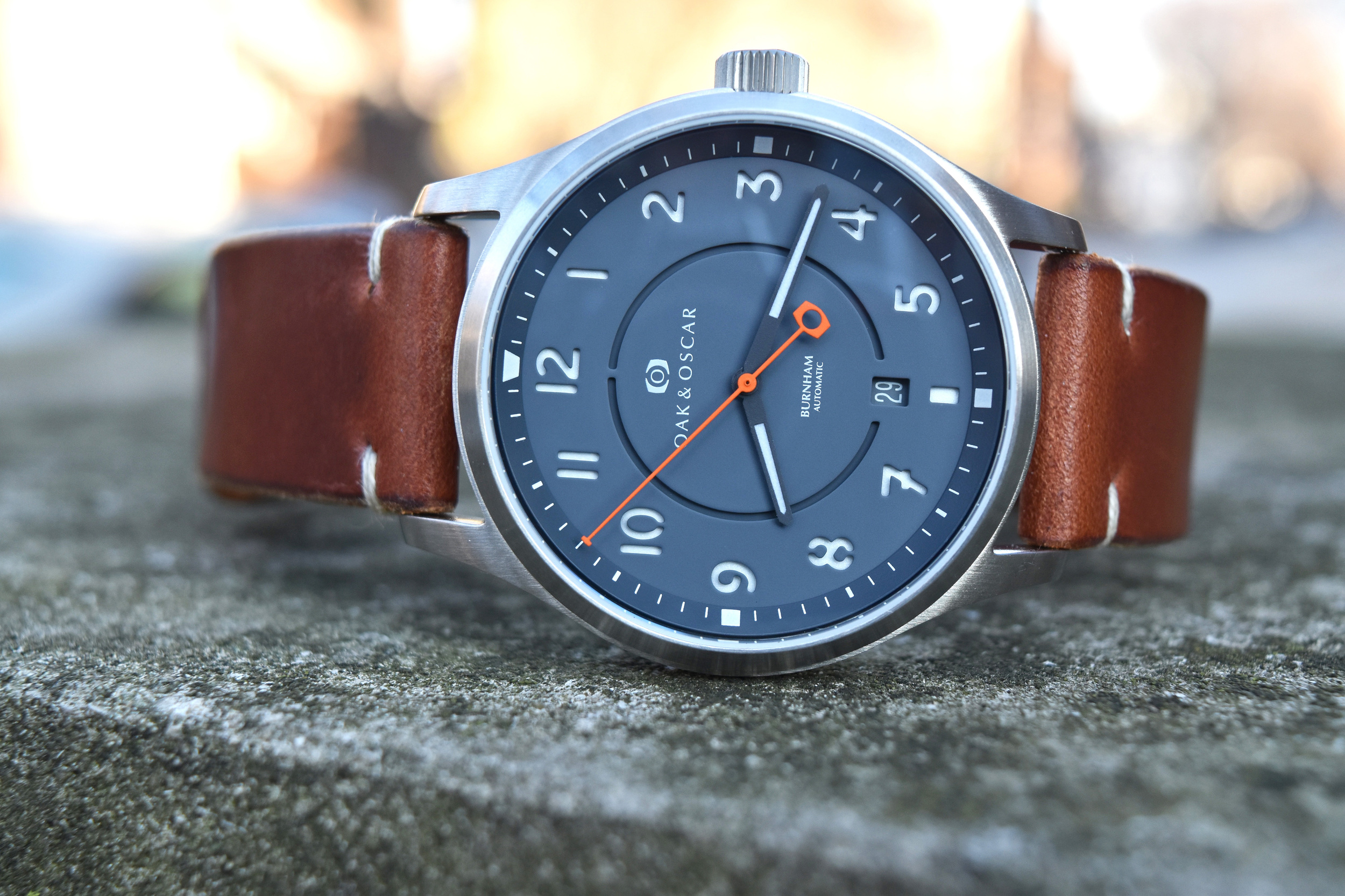 The Horween leather strap that comes with the Burnham is incredibly soft and the perfect strap for the watch.