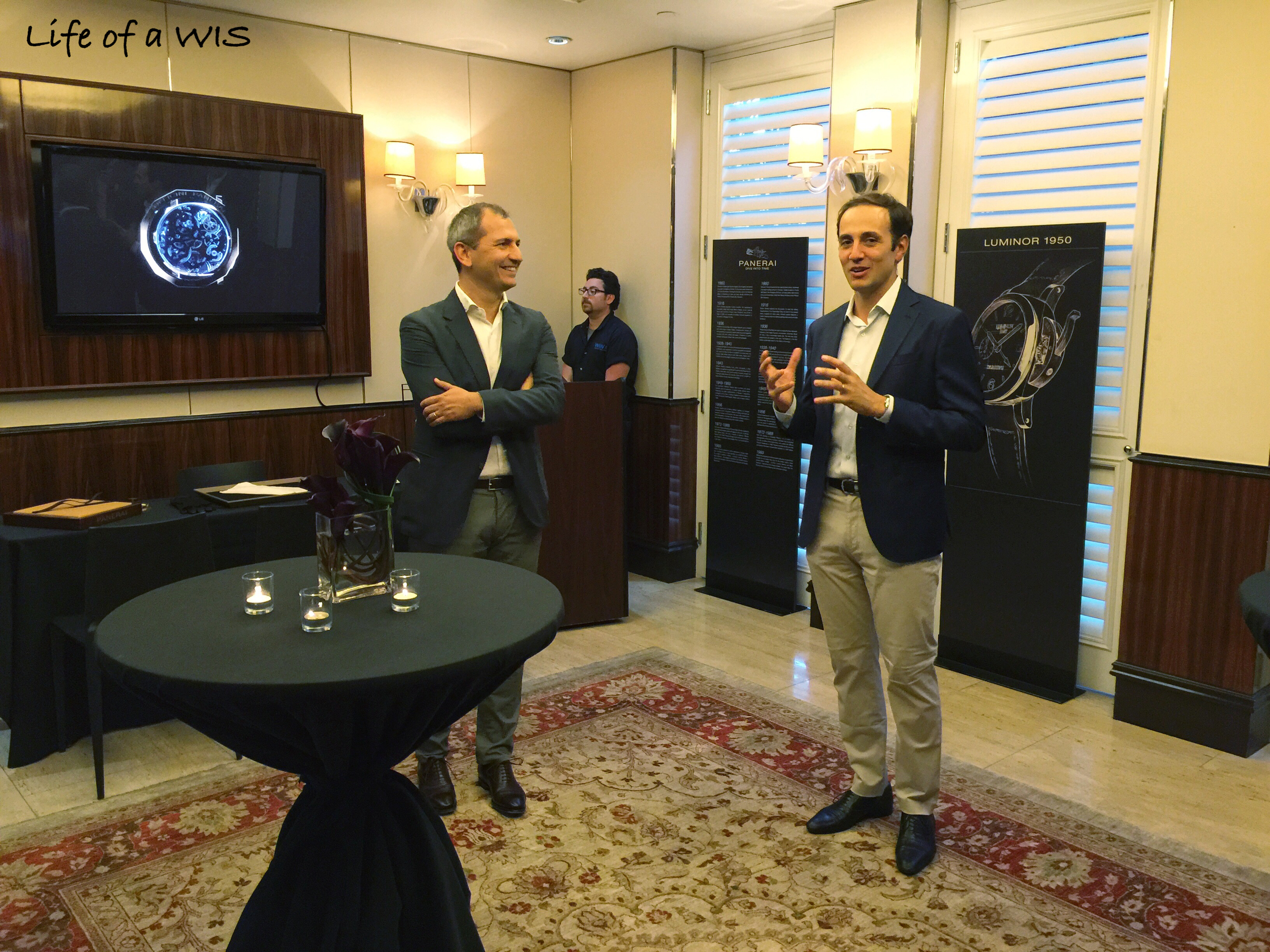 Giovanni Carestia (President of Panerai North America) on the right, Alessandro Ficarelli (Product Development Director) on the left.