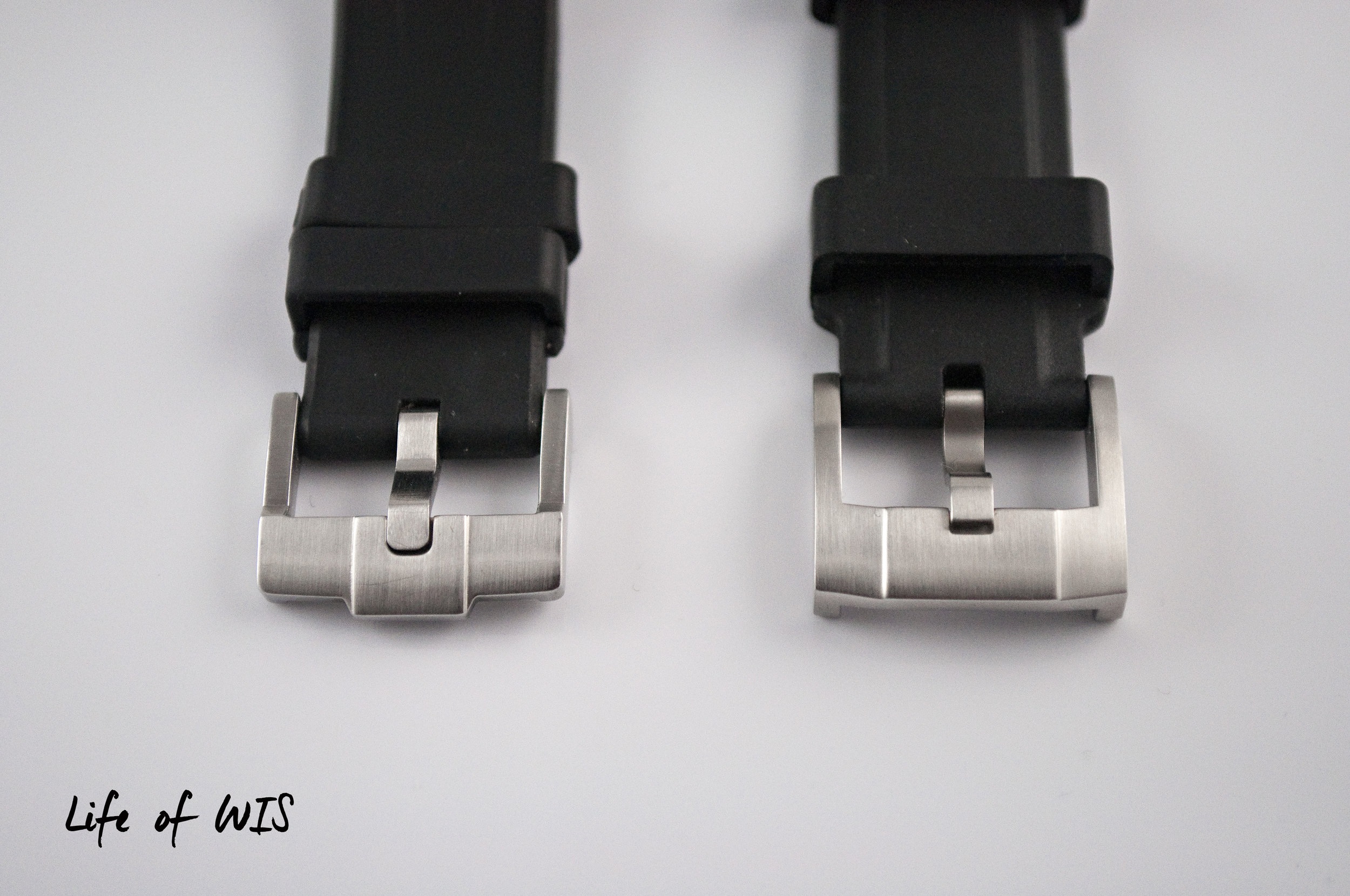 Sleeker Rubber B tang buckle on the left. The more secure Everest screw-in tang buckle on the right.