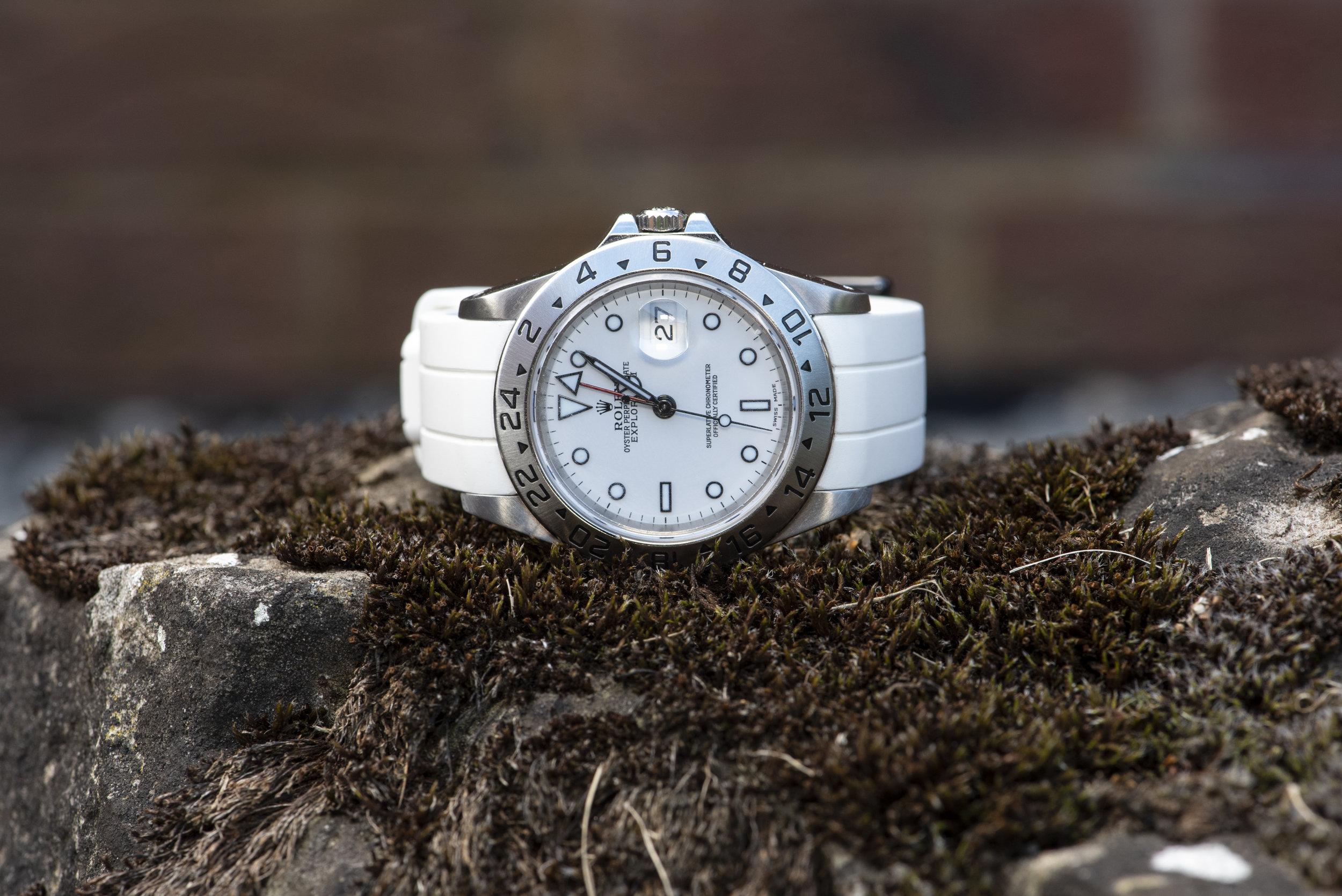 The Rolex Explorer on Vulcan watch straps.