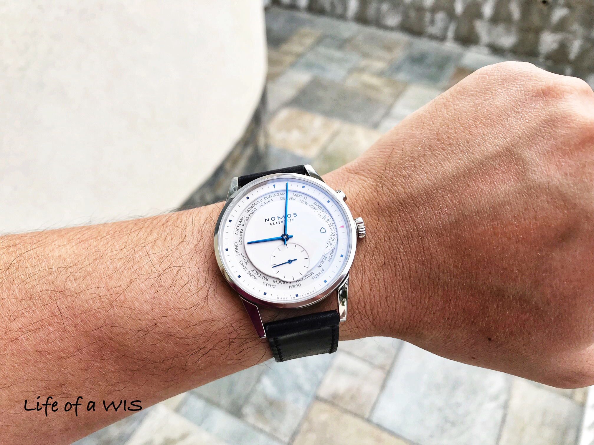 Pure white lacquer dial and blue hands, now that is a winning combination.