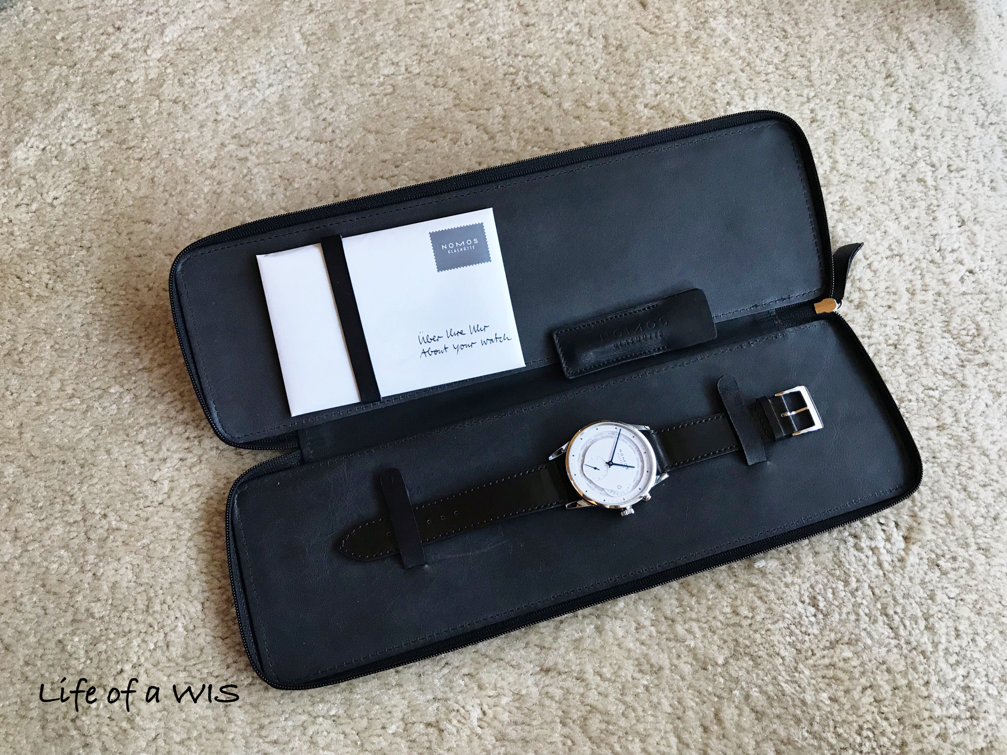 Watch comes in a nice and useful leather travel case.