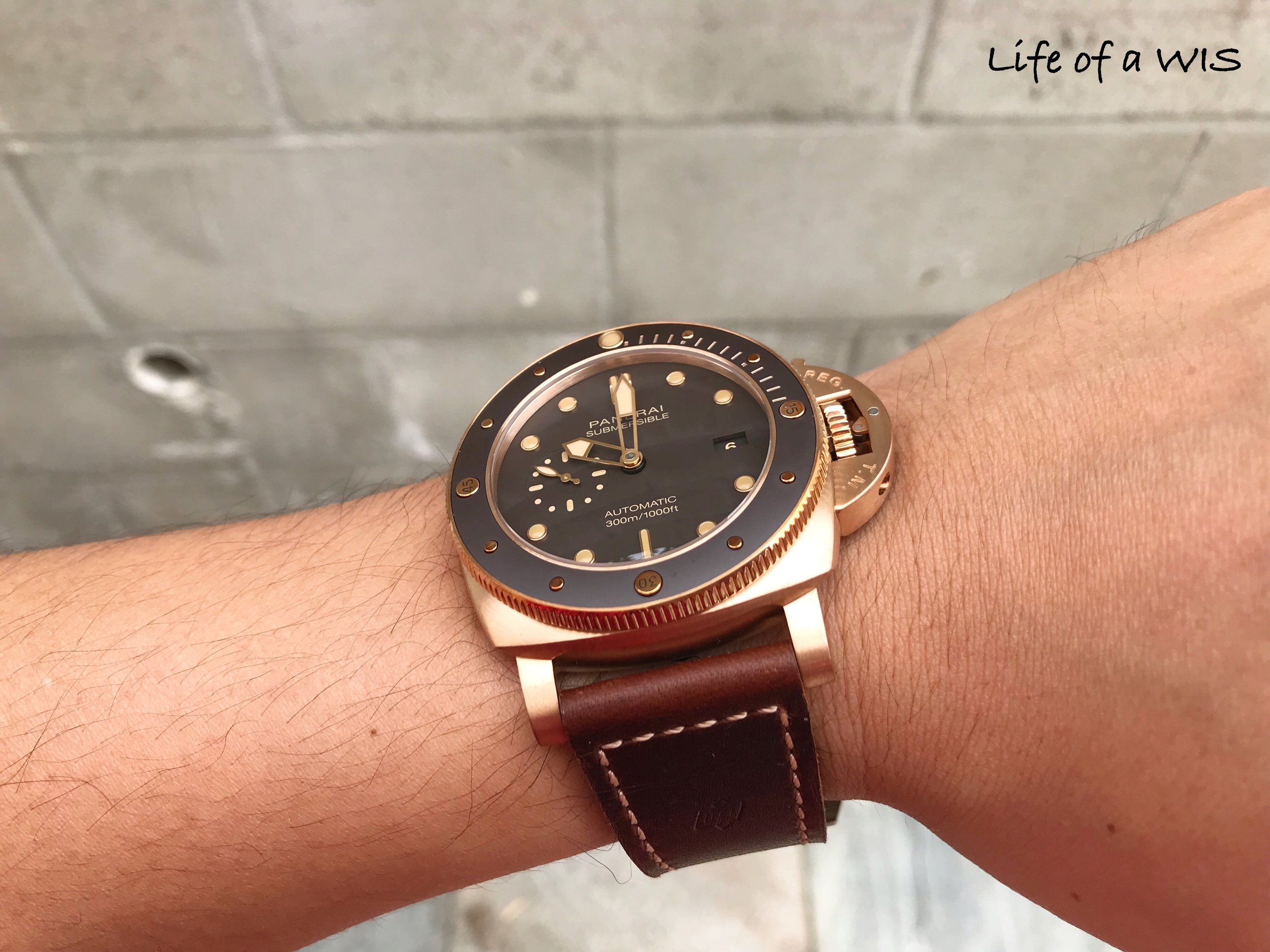 PAM 968… beautiful rose gold tone on the bronze case before any patina has developed.