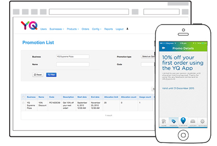 As a business owner you have access to our promotionsplatform that easily accessible from your YQ admin dashboard.      Treat your customers with a promotional offer that gets sent directly to their mobile phone or email.