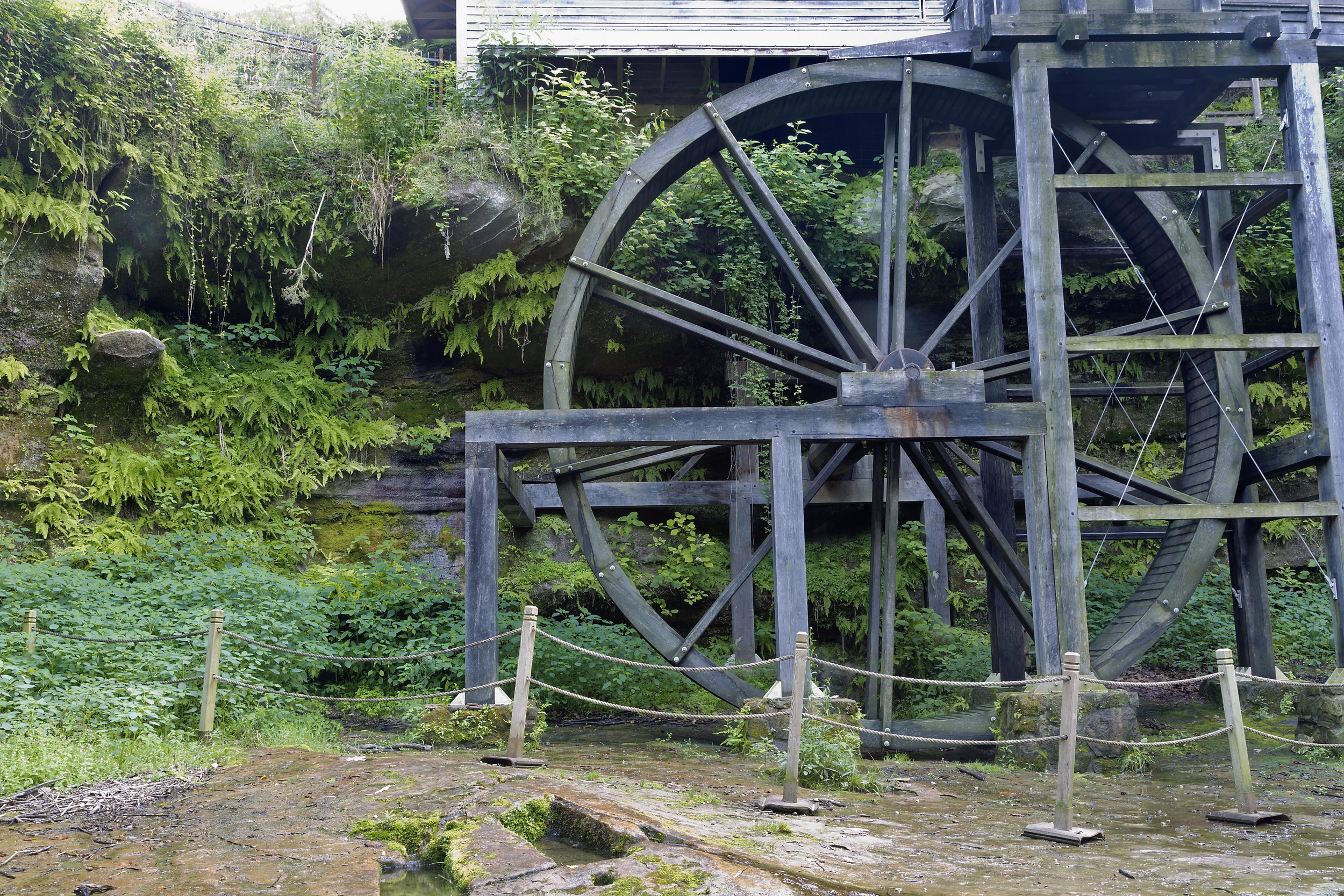 Constructed in 2012, this 26 foot water wheel is a replica of the original wheel used.