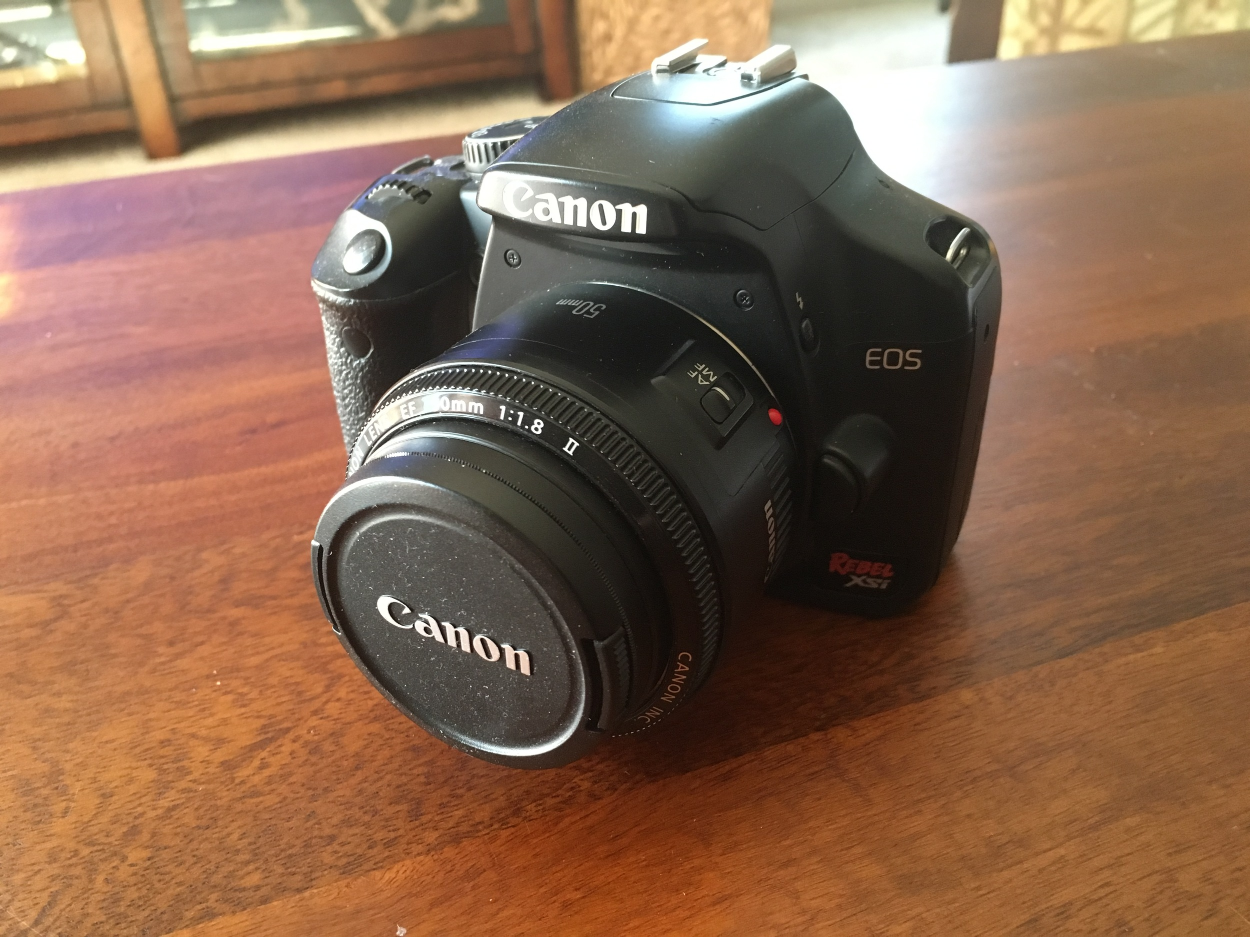 My first digital camera (DSLR) a Canon Rebel XSI. With my Canon 50mm f/1.8 lens. My go to combination for a long time.
