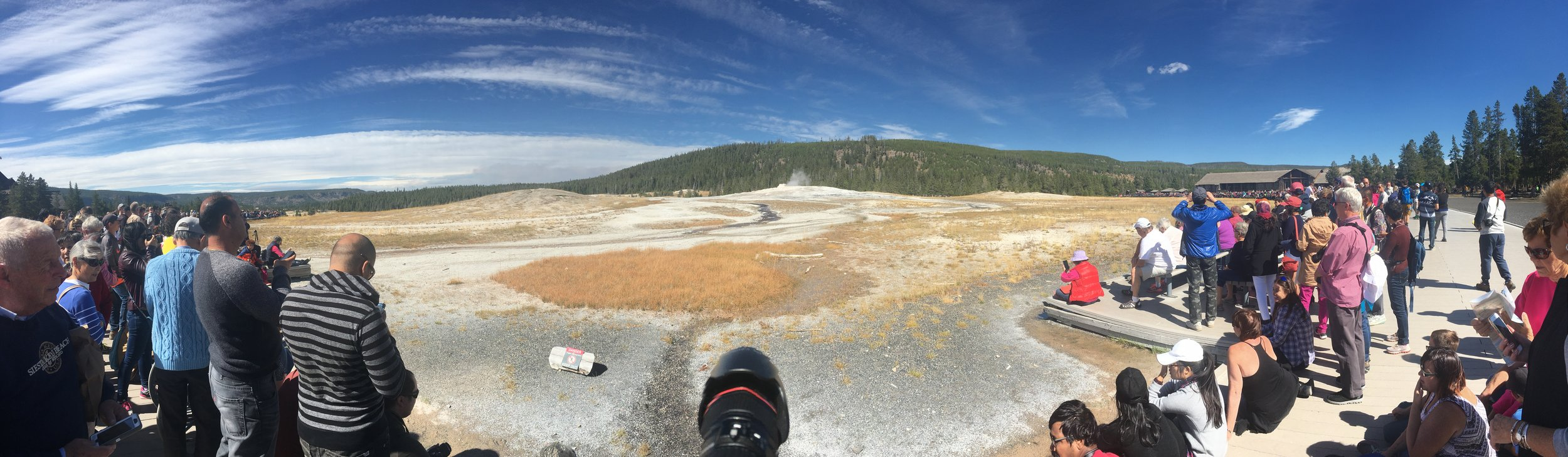 Panorama of the crowd ready for Old Faithful.