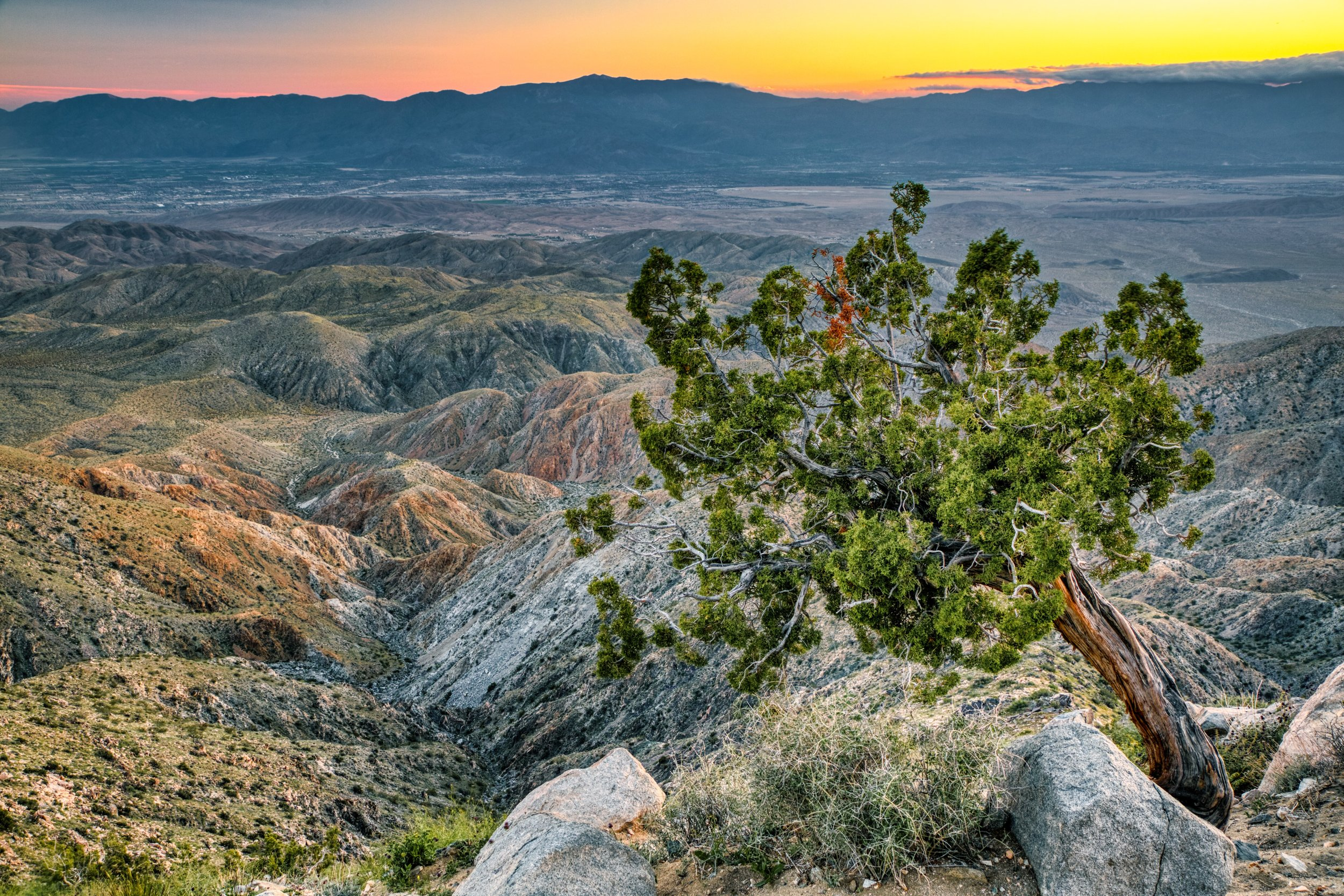 Sunset looking down on Coachella Valley